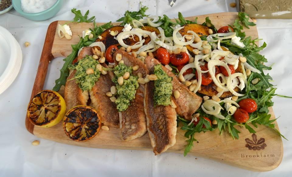 Pan Seared Snapper with Grilled Veggies Salad & Macadamia Pesto