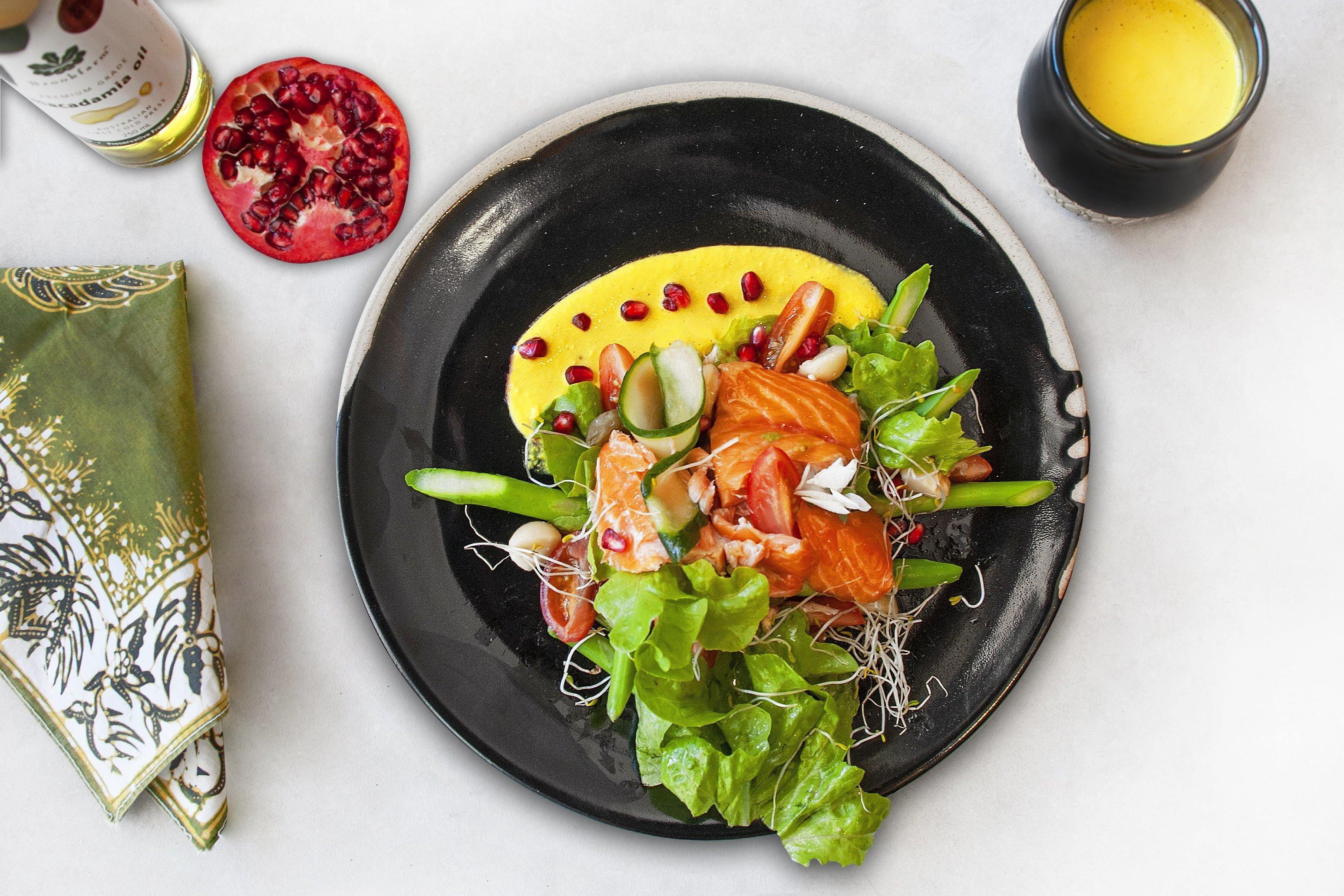 Trout Salad with Turmeric & Premium Macadamia OilDressing
