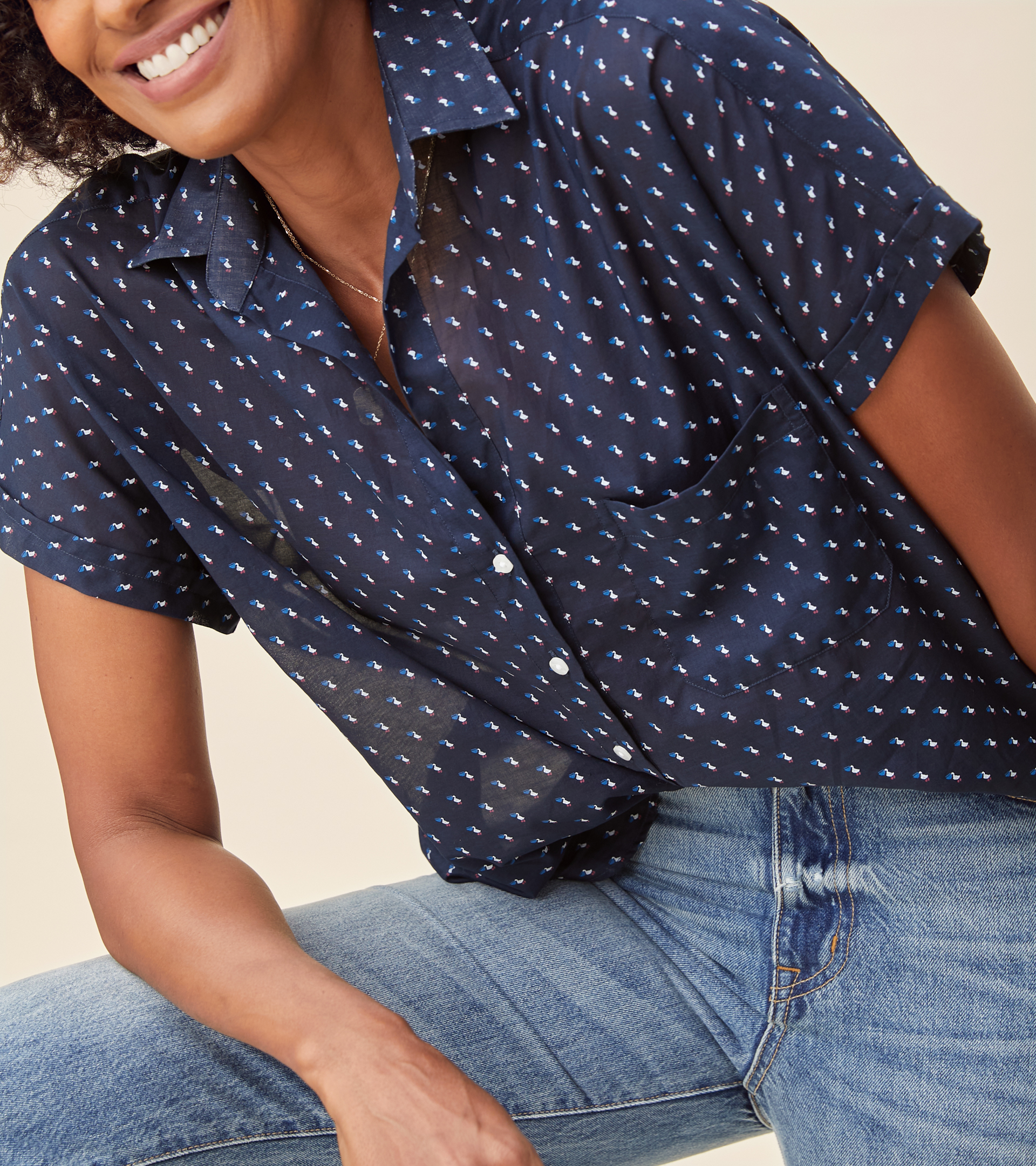 Image of The Artist Short Sleeve Shirt Navy with Pelicans, Tissue Cotton Final Sale