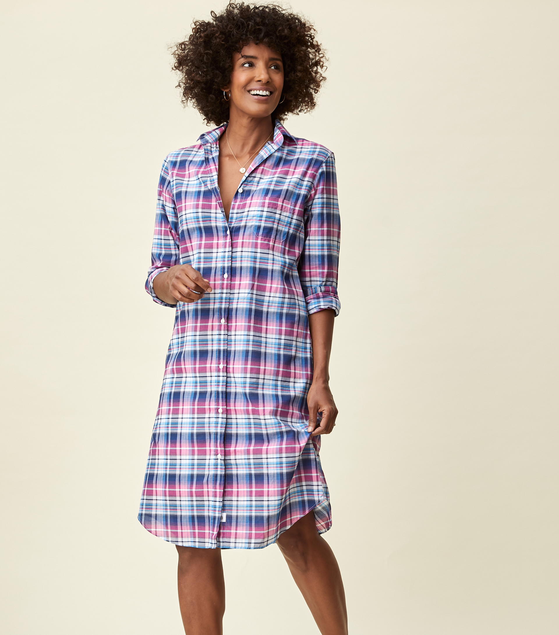 Image of The Hero Midi Dress Blue and Pink Plaid, Tissue Cotton