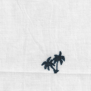 white with navy palm