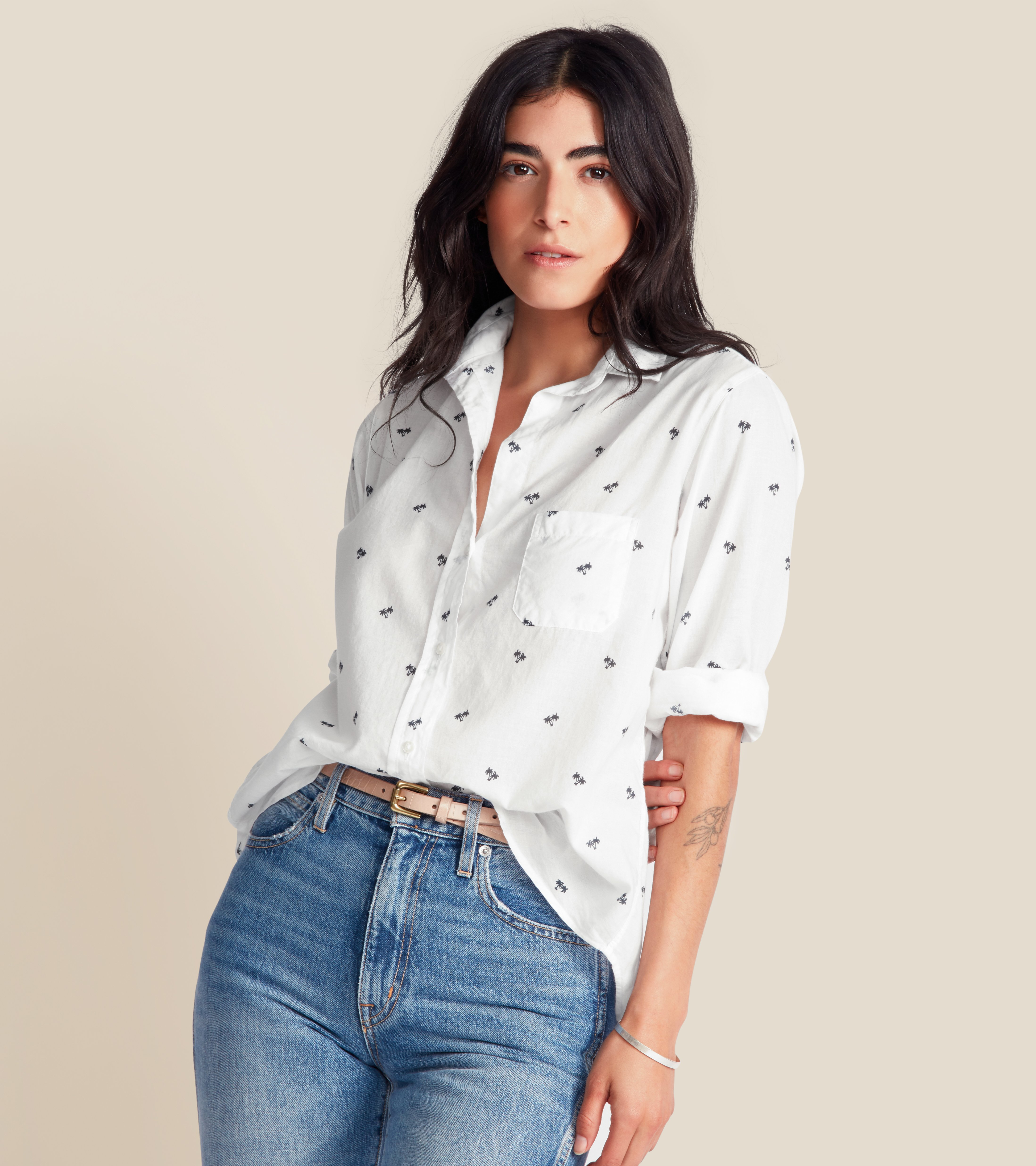 The Hero Button-Up Shirt White with Navy Palm, Tissue Cotton view 2