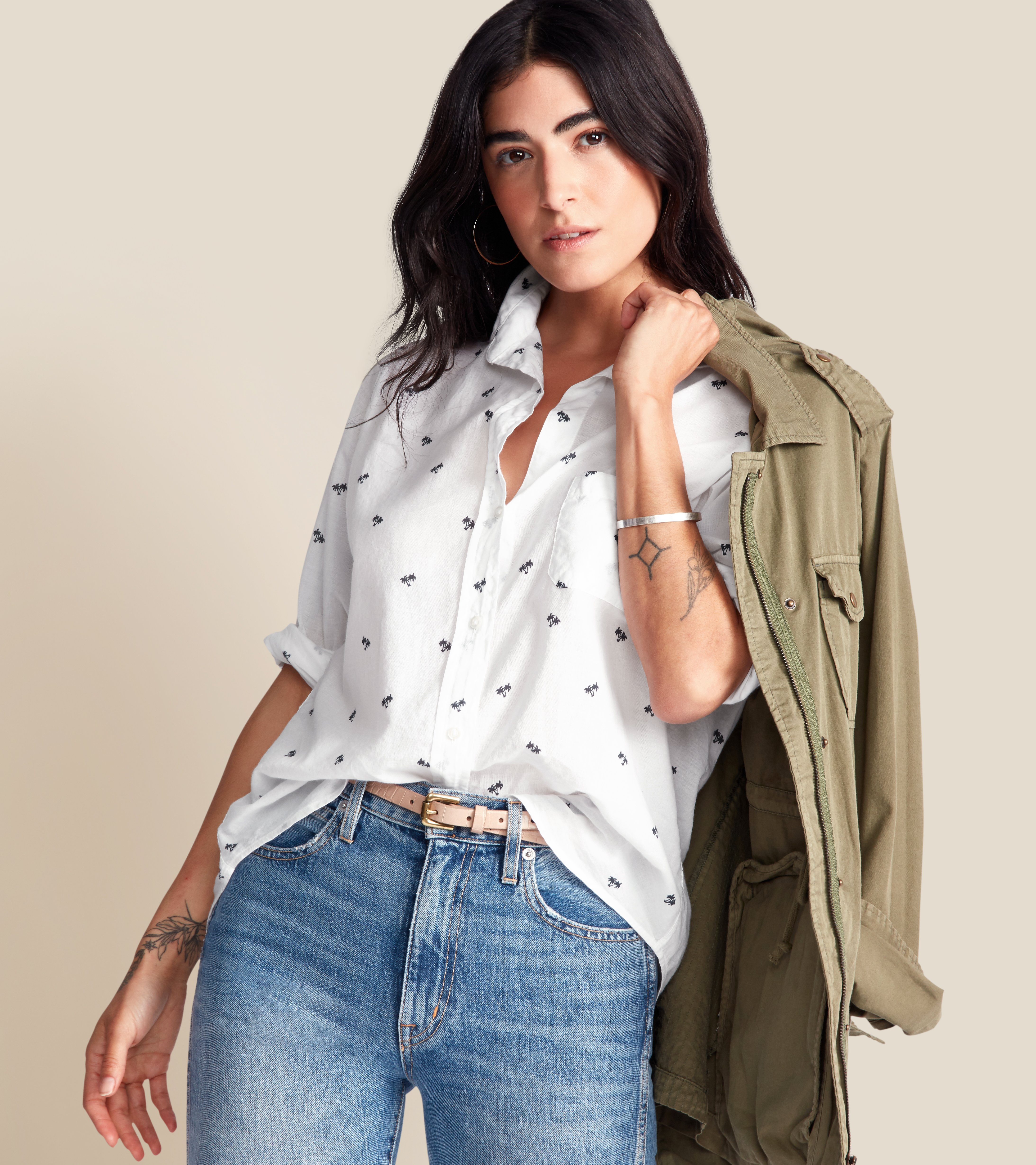 The Hero Button-Up Shirt White with Navy Palm, Tissue Cotton view 1