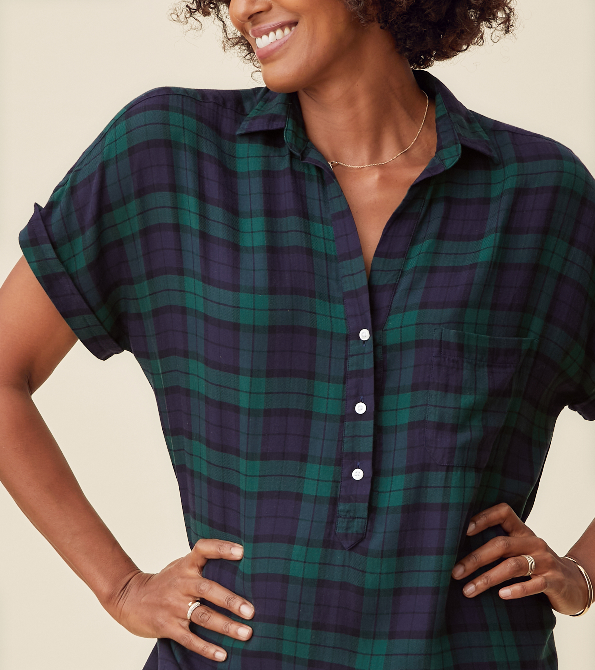 The Artist Short Sleeve Dress Navy with Green Plaid, Liquid Flannel view 2