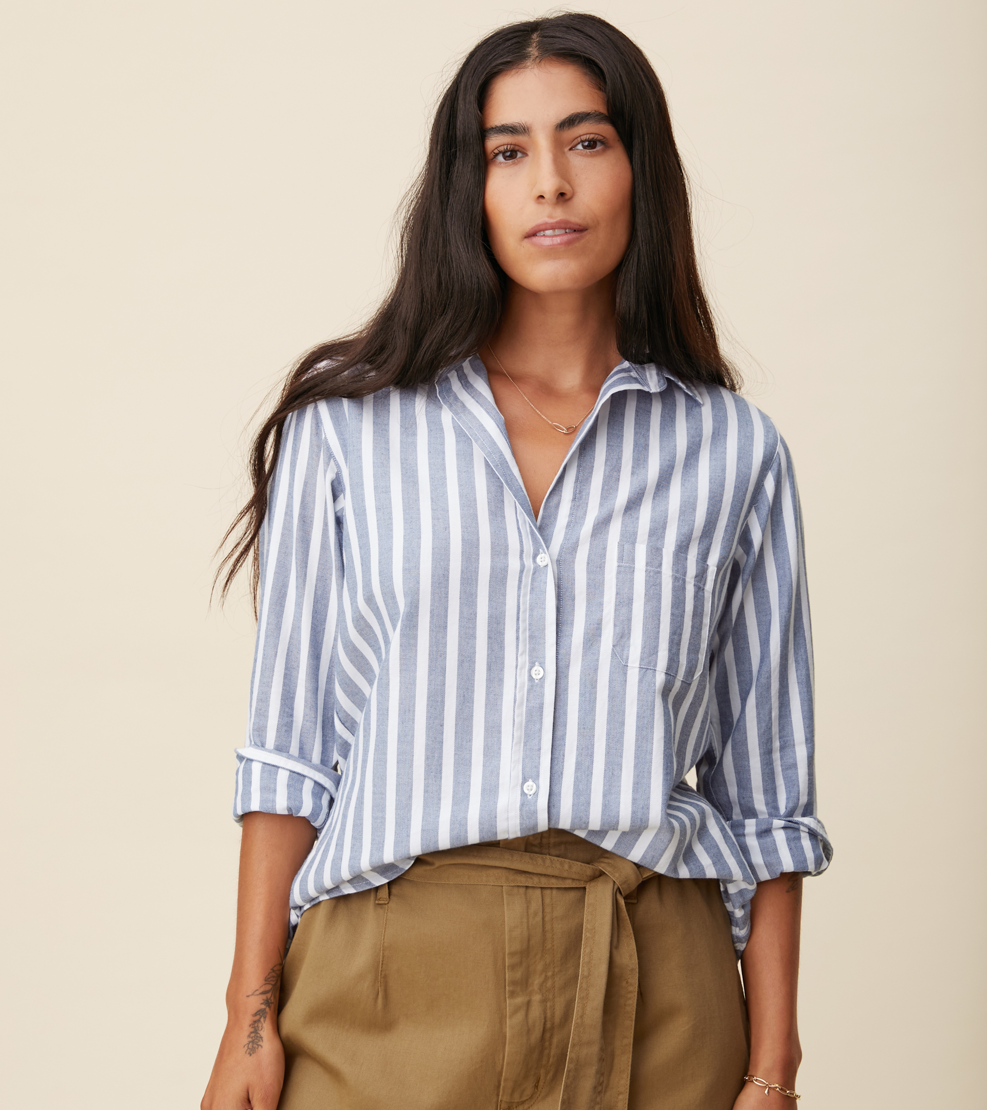 Image of The Hero Button-Up Shirt Blue Melange Stripes, Feathered Flannel