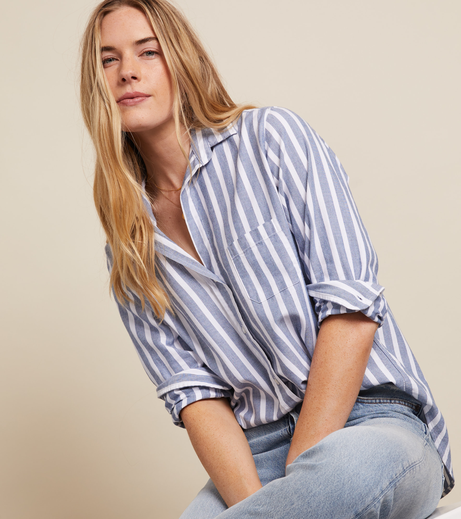 The Hero Button-Up Shirt Blue Melange Stripes, Feathered Flannel view 2