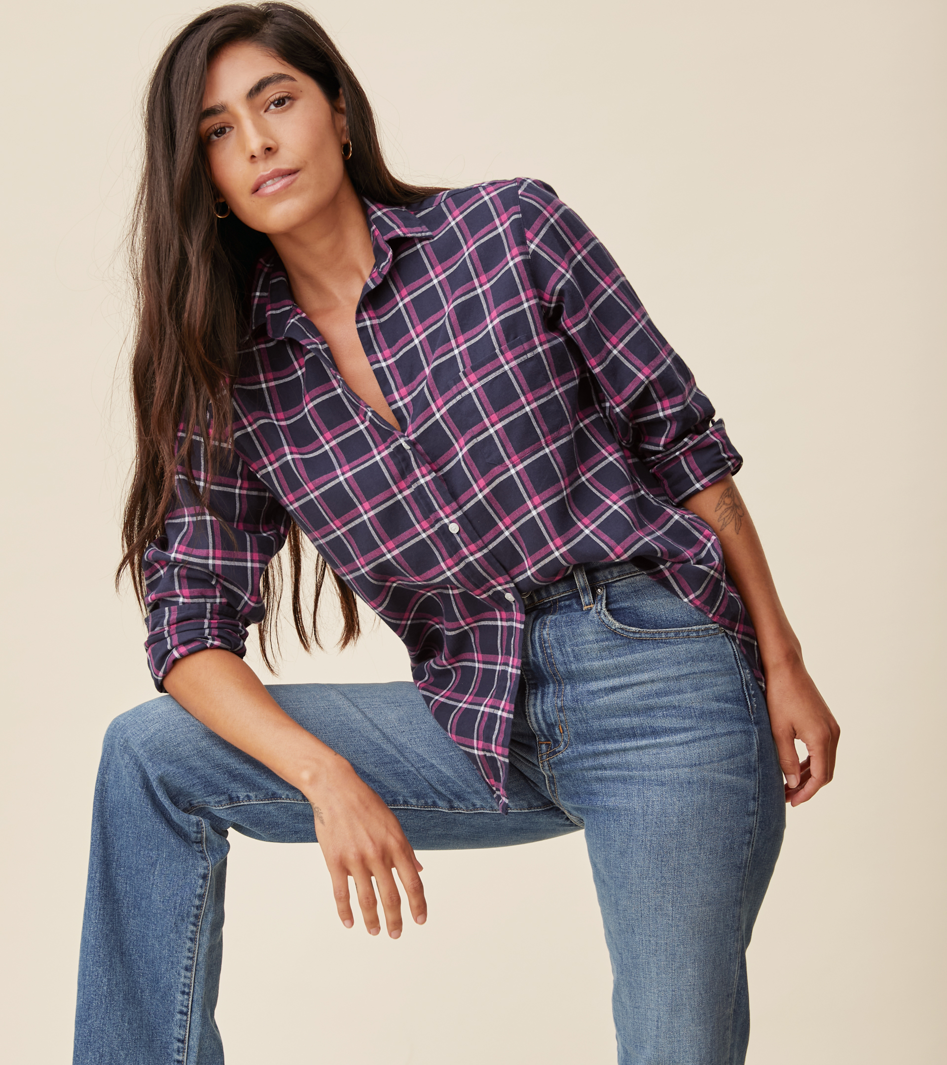 Image of The Hero Button-Up Shirt Navy, Pink, and White Plaid, Feathered Flannel