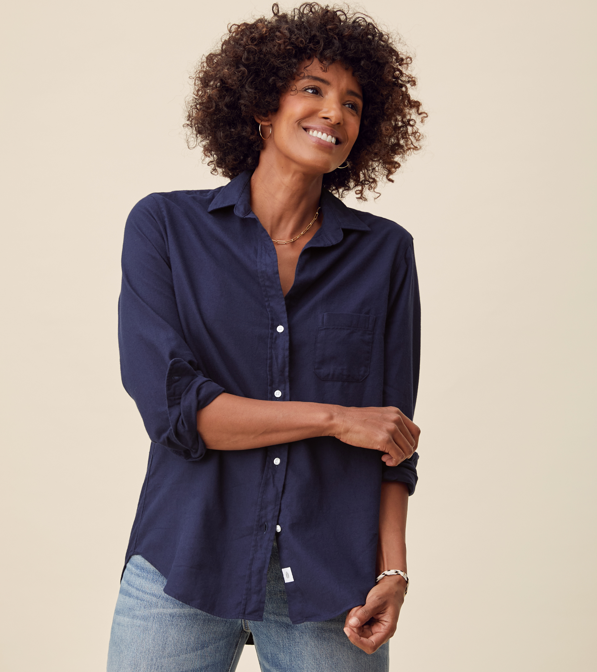 Image of The Hero Button-Up Shirt Navy, Feathered Flannel