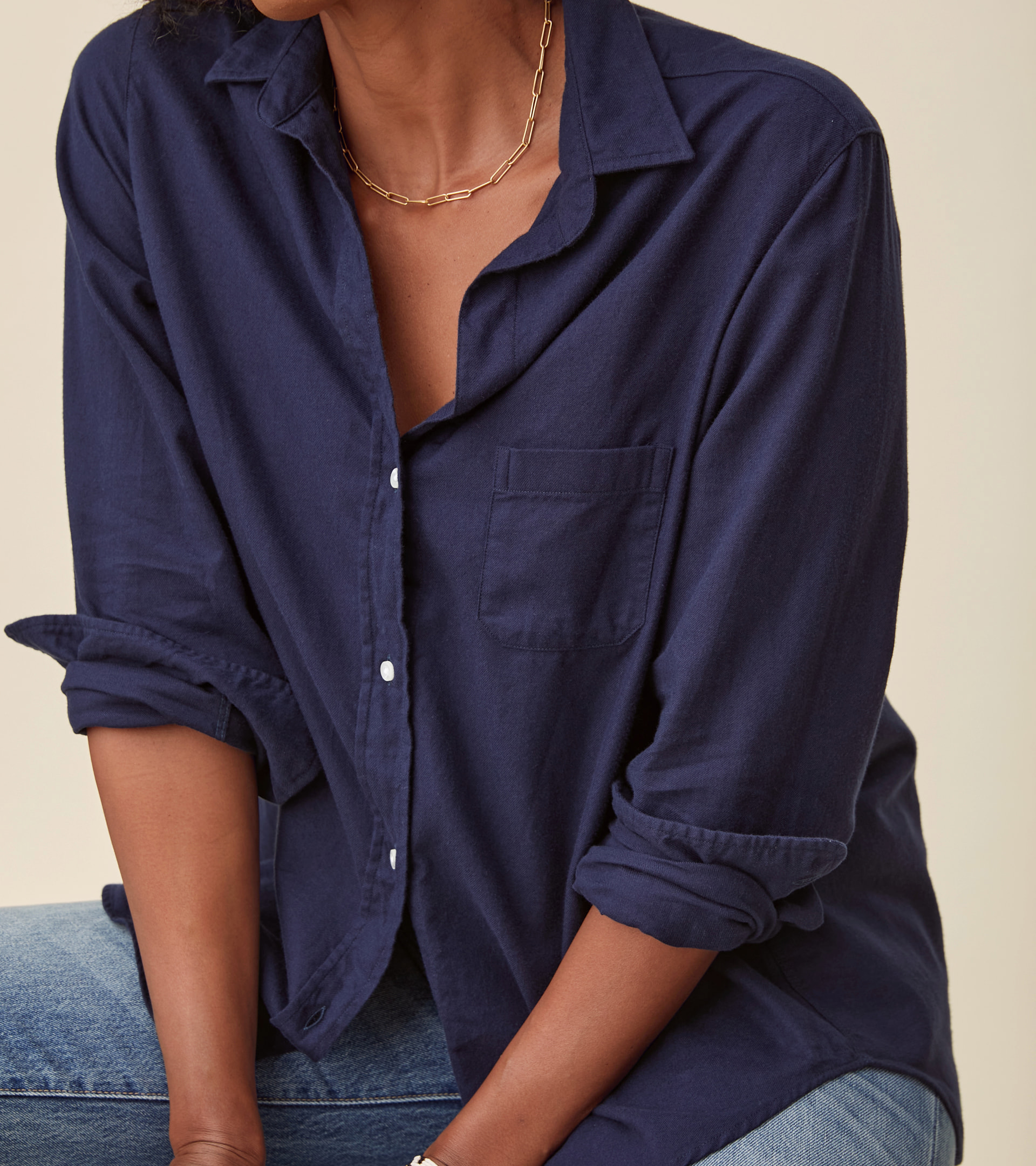 The Hero Button-Up Shirt Navy, Feathered Flannel view 1