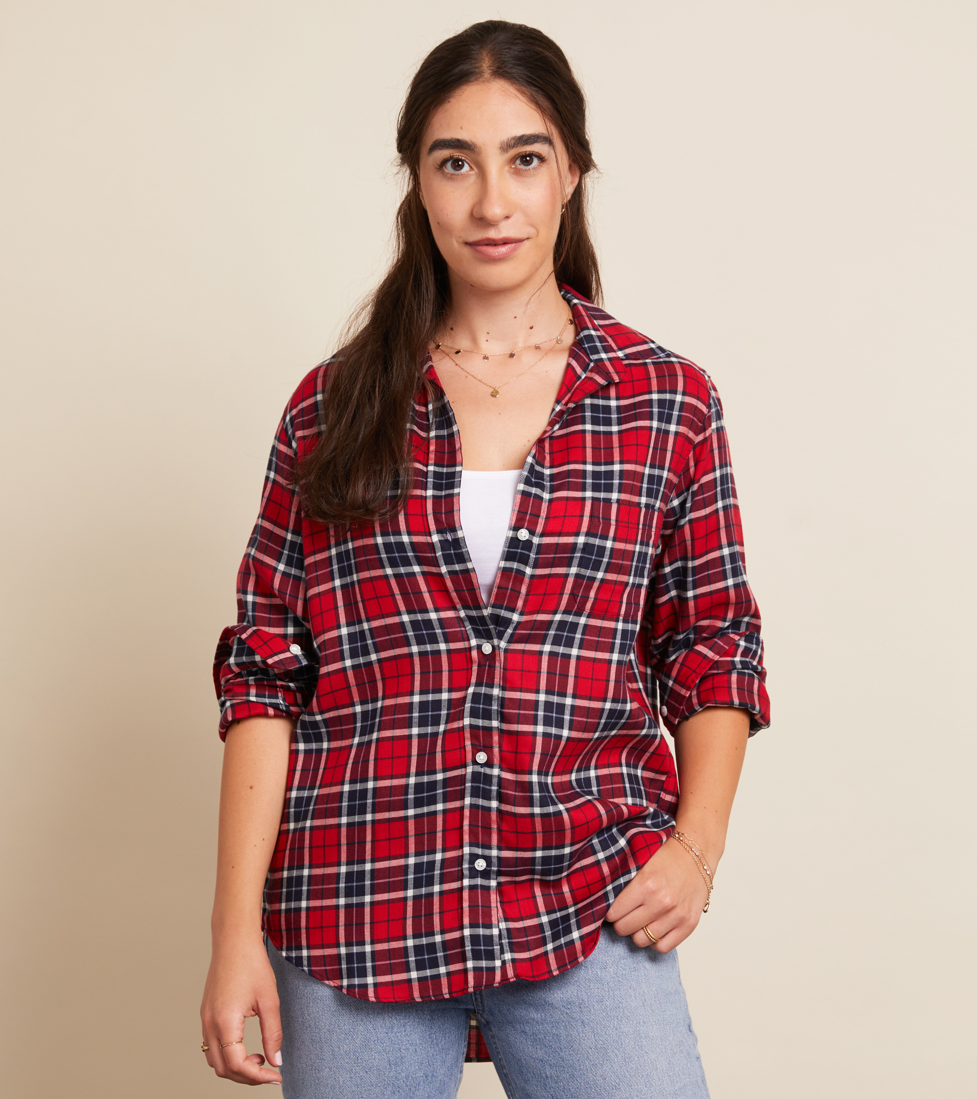 Image of The Hero Button-Up Shirt Red, Navy, and White Plaid, Liquid Flannel