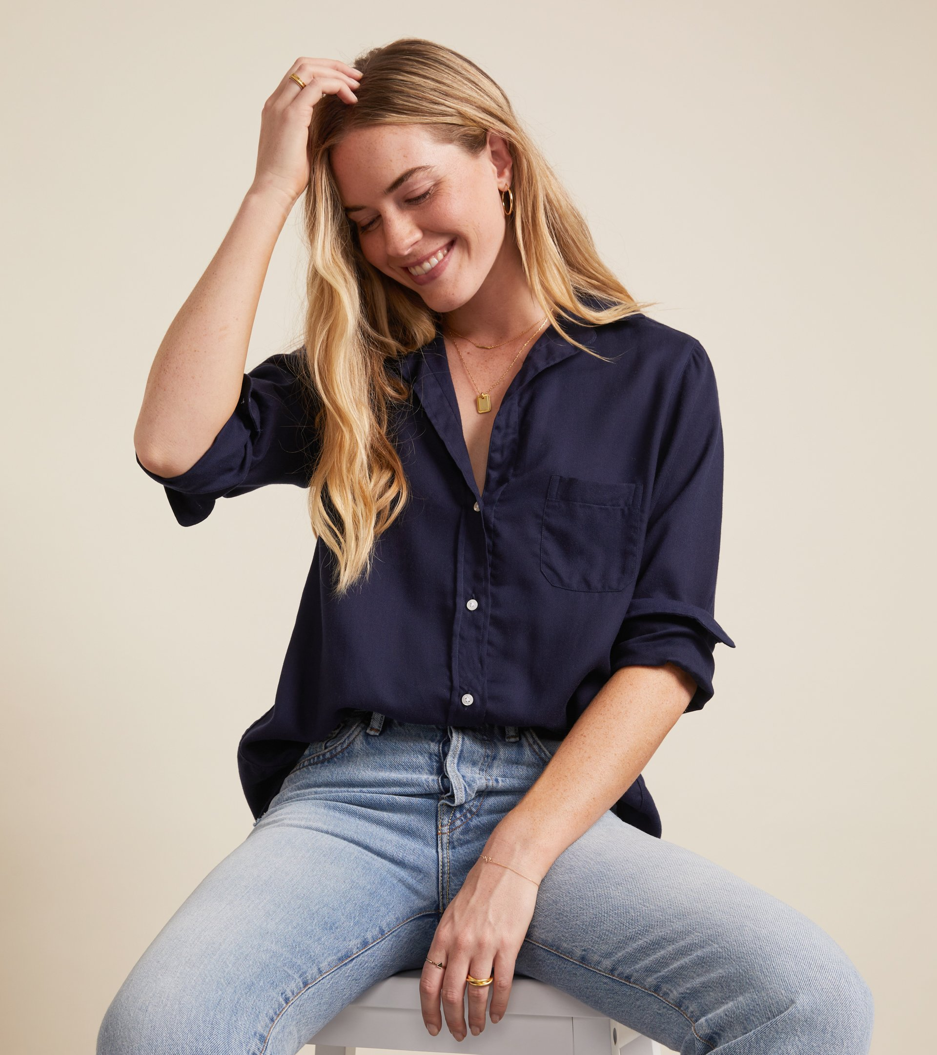 The Hero Button-Up Shirt Navy, Liquid Flannel view 1