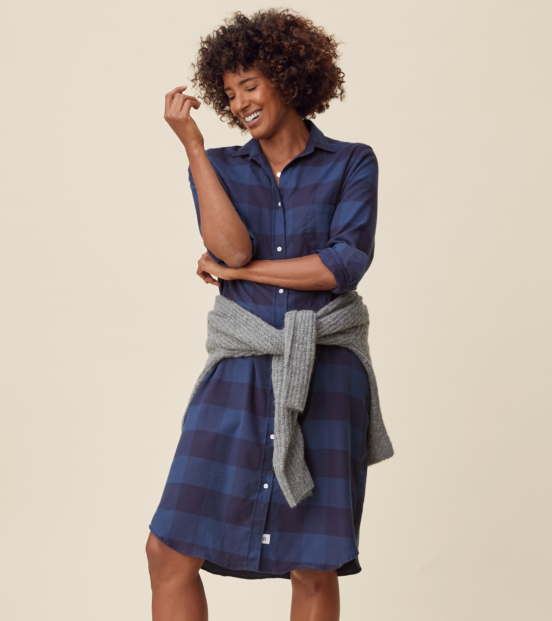 Image of The Hero Midi Dress Navy and Slate Check, Feathered Flannel