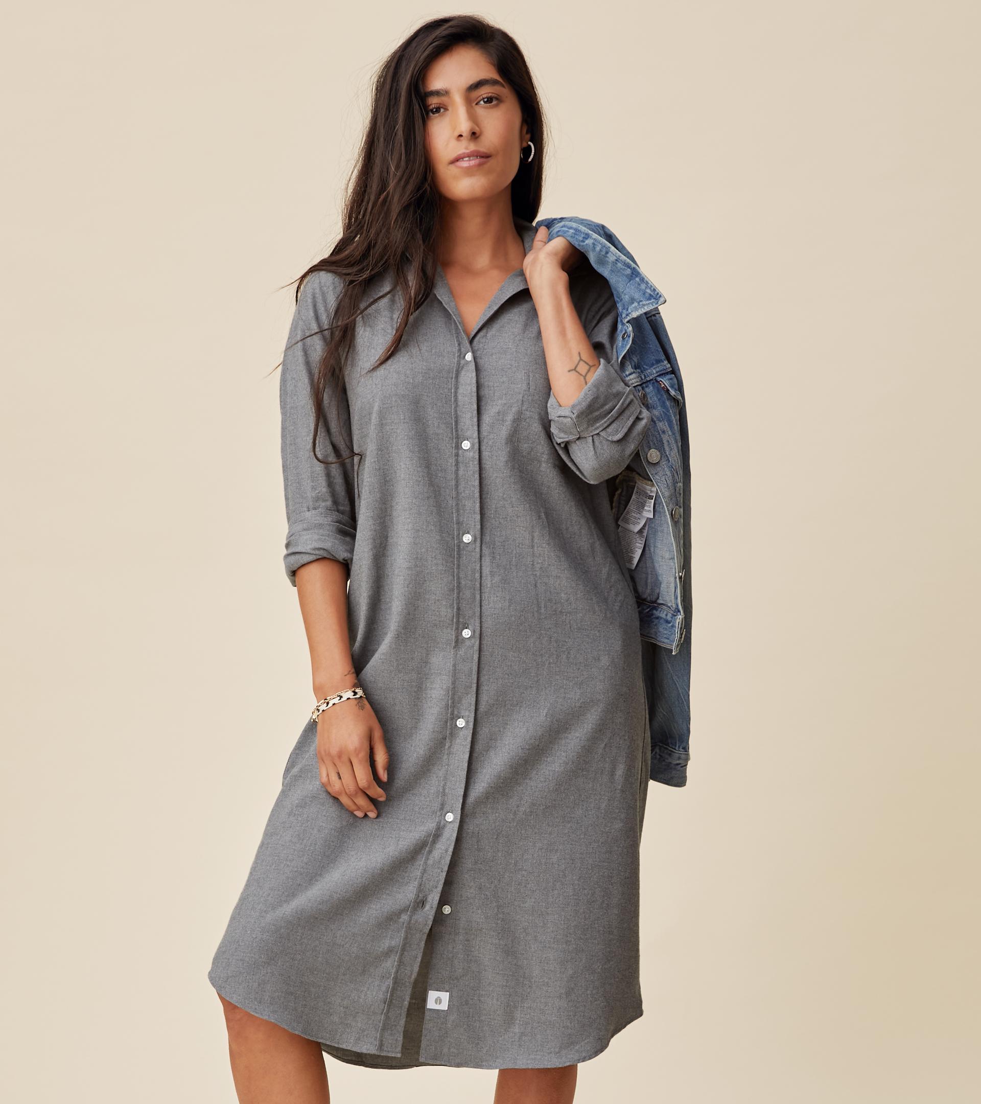Image of The Hero Midi Dress Gray Melange, Feathered Flannel