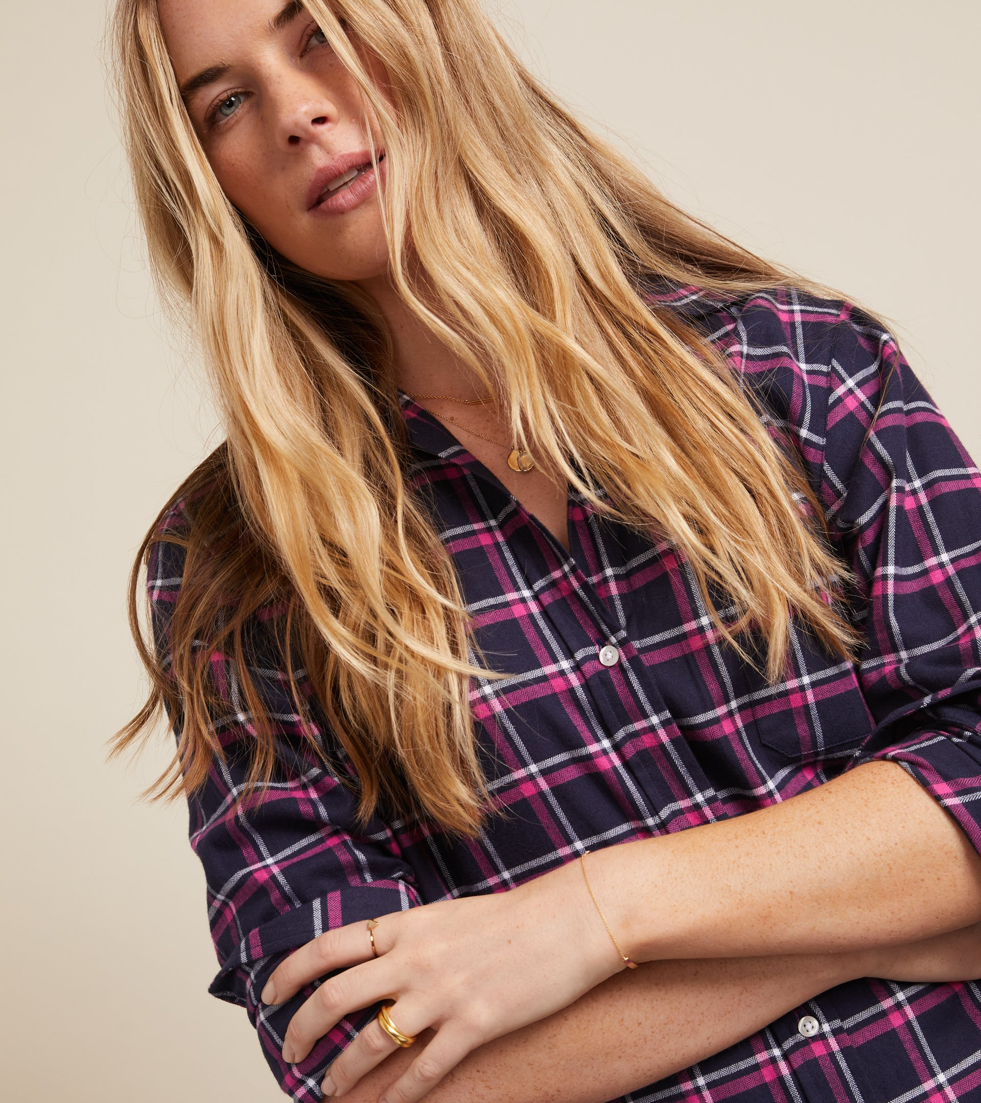 The Hero Midi Dress Navy, Pink, and White Plaid, Feathered Flannel view 2