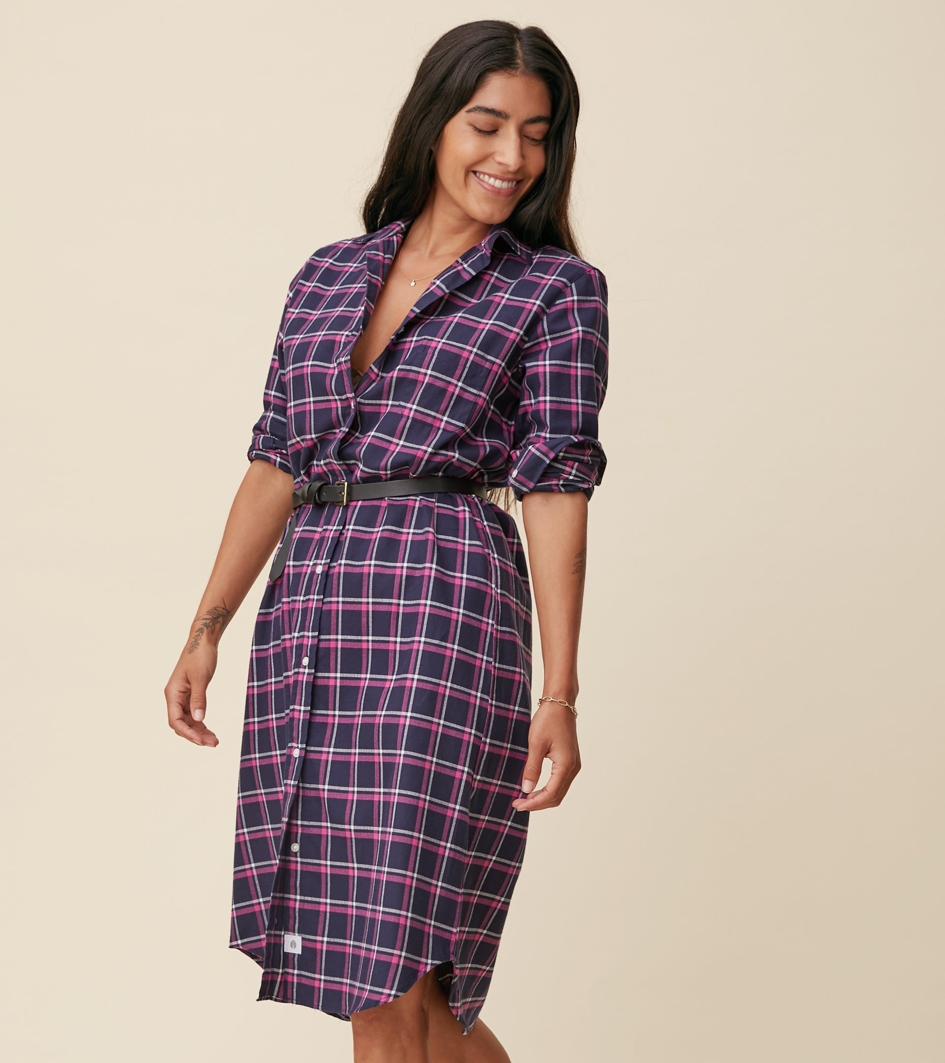 Image of The Hero Midi Dress Navy, Pink, and White Plaid, Feathered Flannel