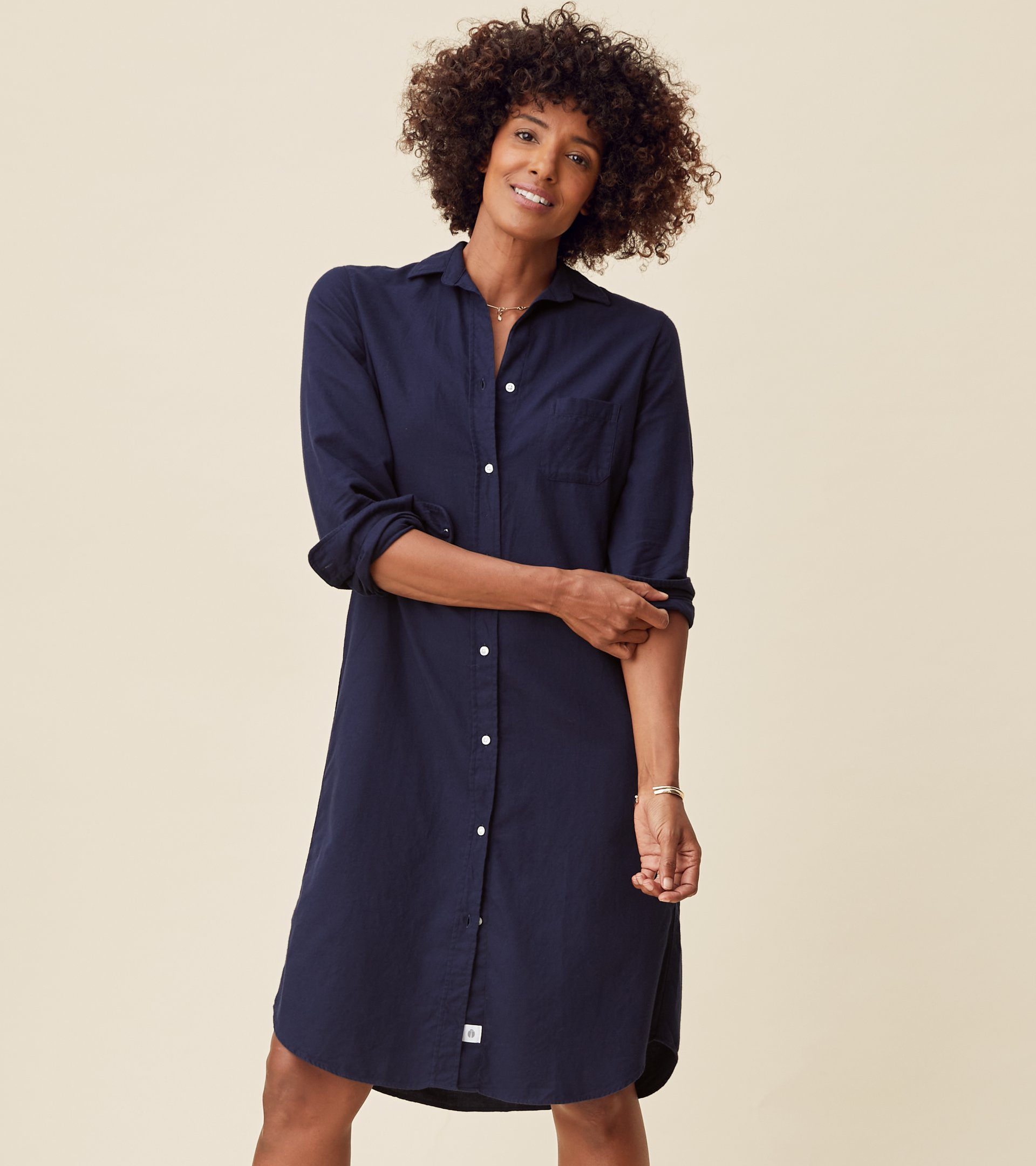 Image of The Hero Midi Dress Navy, Feathered Flannel