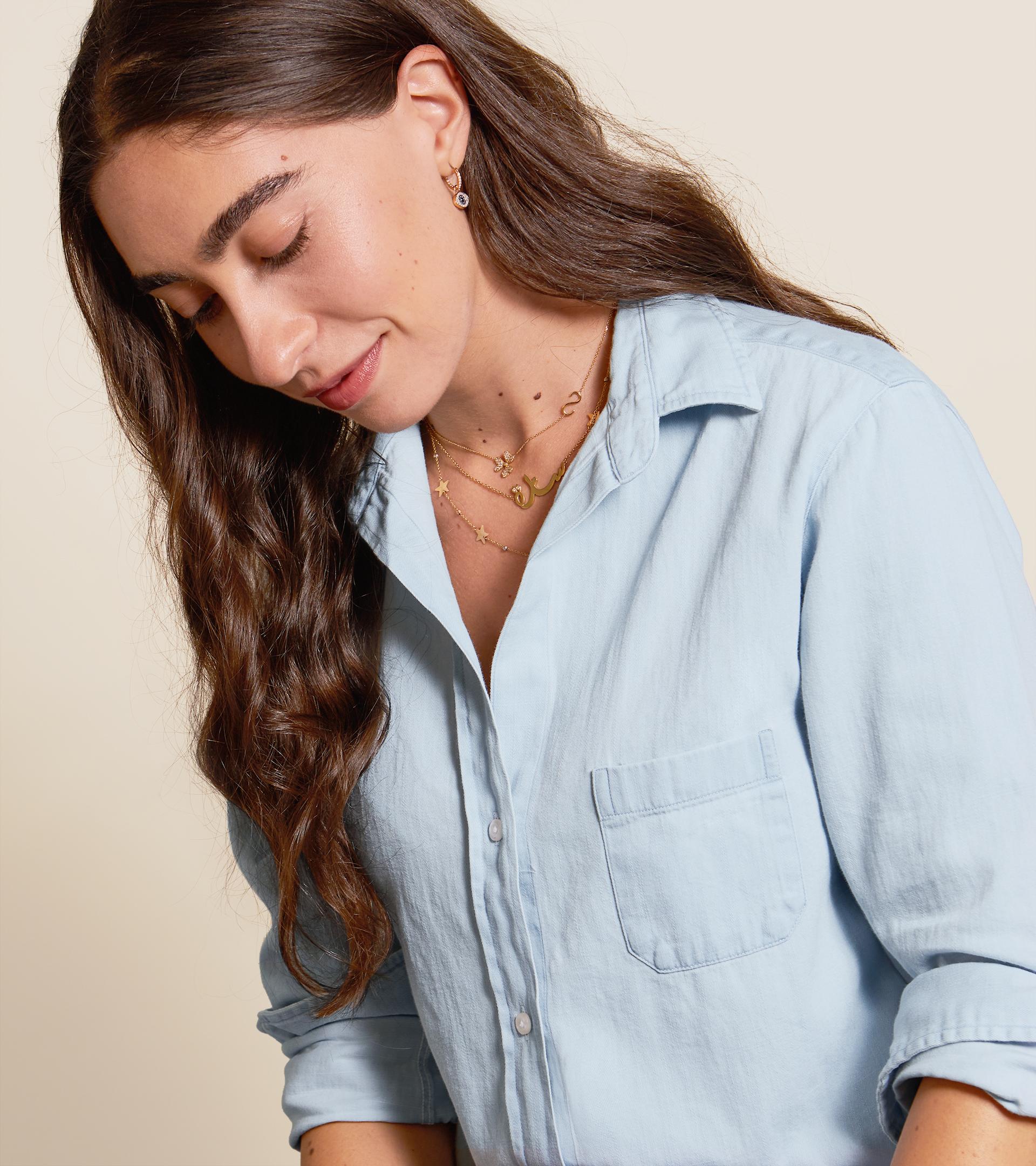 Image of The Hero Button-Up Shirt Light Wash, Cotton Denim