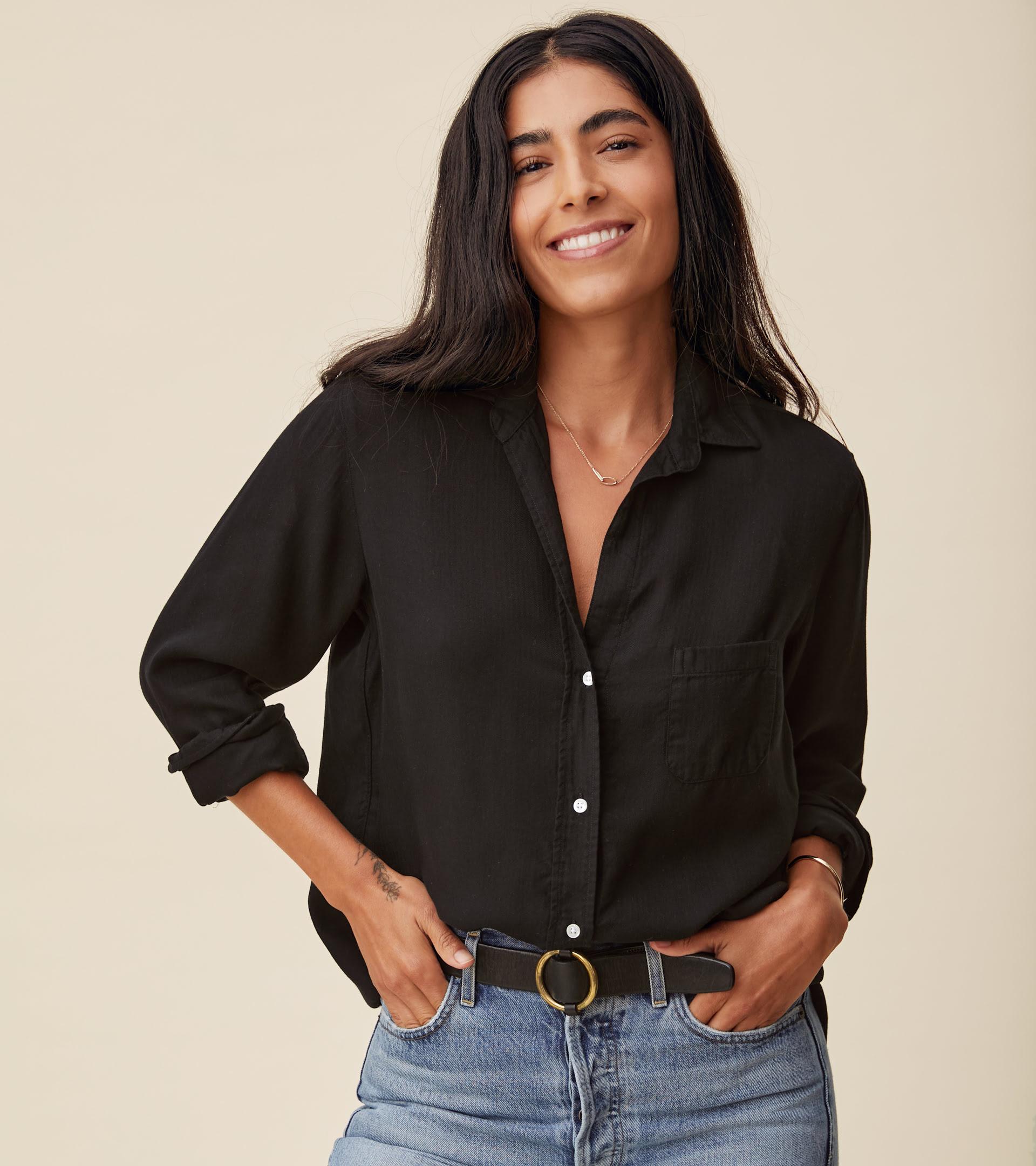The Hero Button-Up Shirt Black, Liquid Flannel view 1