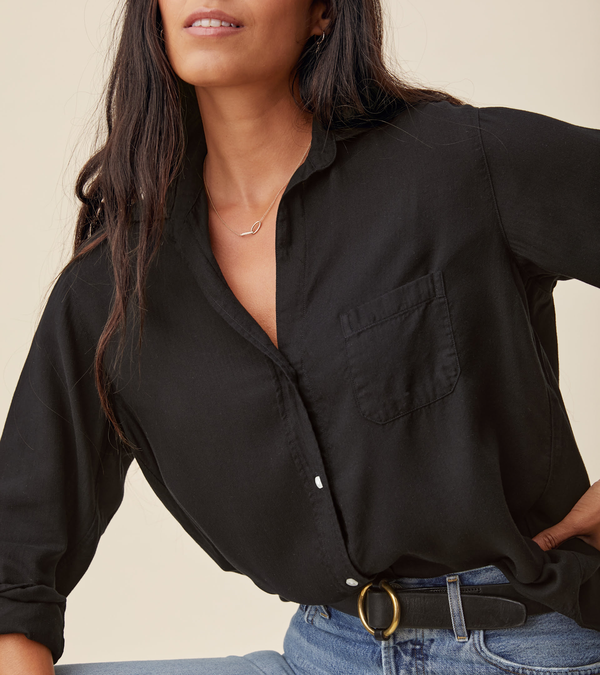 The Hero Button-Up Shirt Black, Liquid Flannel view 2