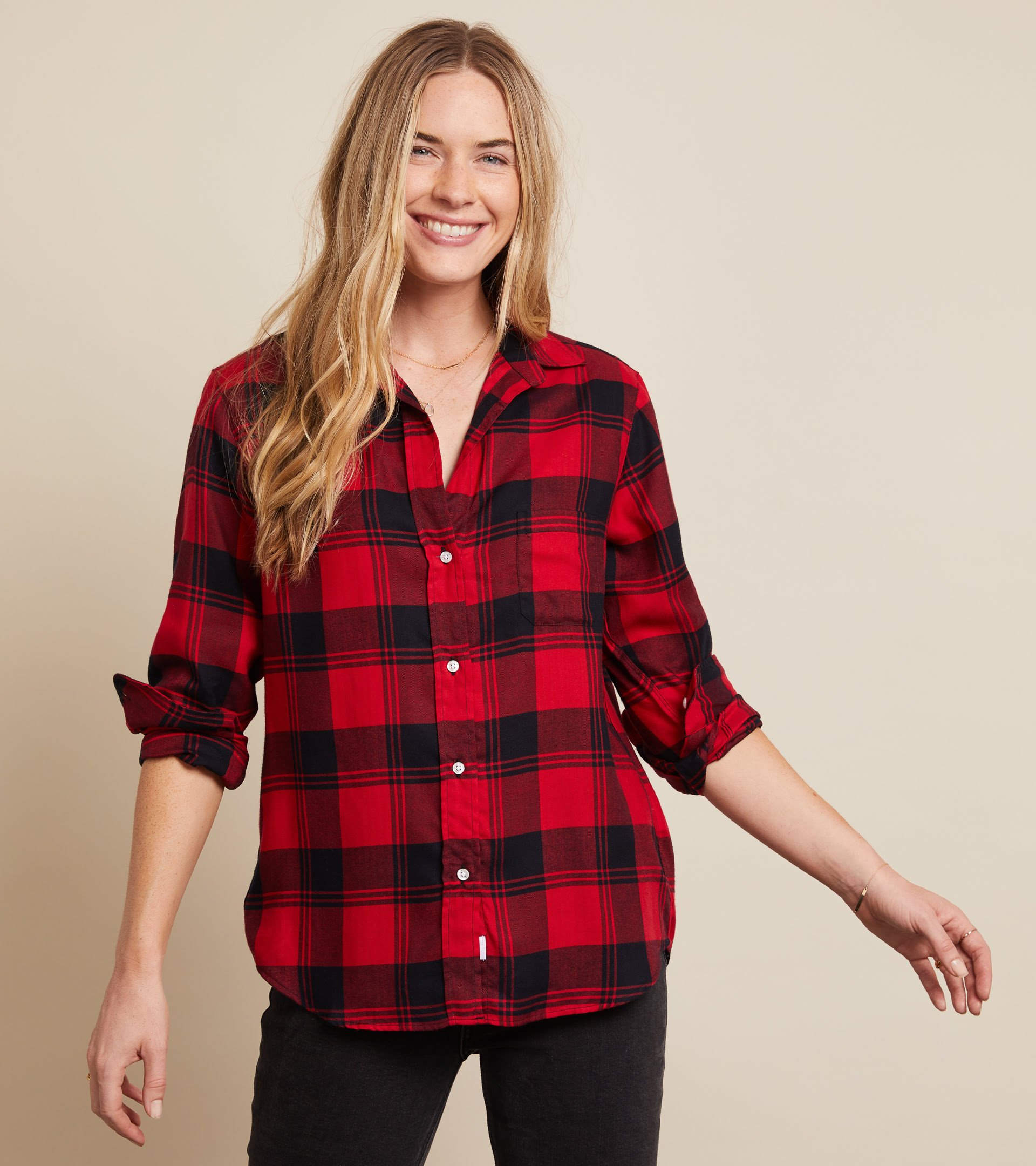 The Hero Button-Up Shirt Red and Black Plaid, Liquid Flannel view 2
