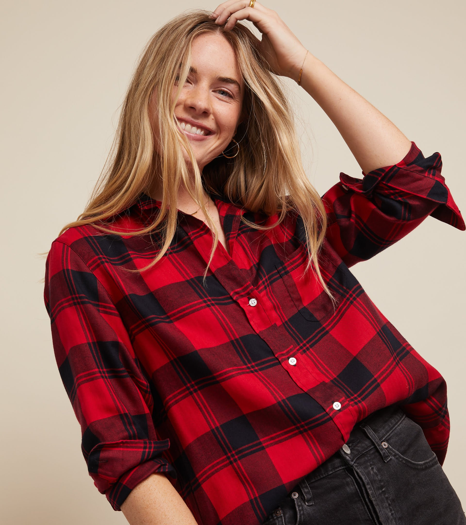 The Hero Button-Up Shirt Red and Black Plaid, Liquid Flannel view 1
