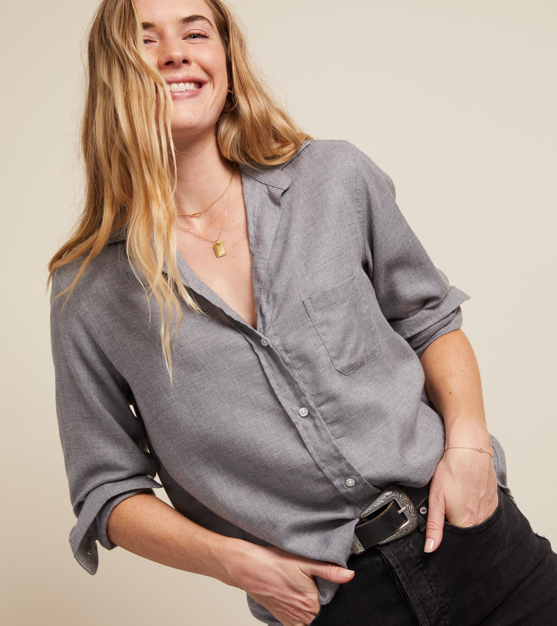 The Hero Button-Up Shirt Gray Melange, Liquid Flannel view 1
