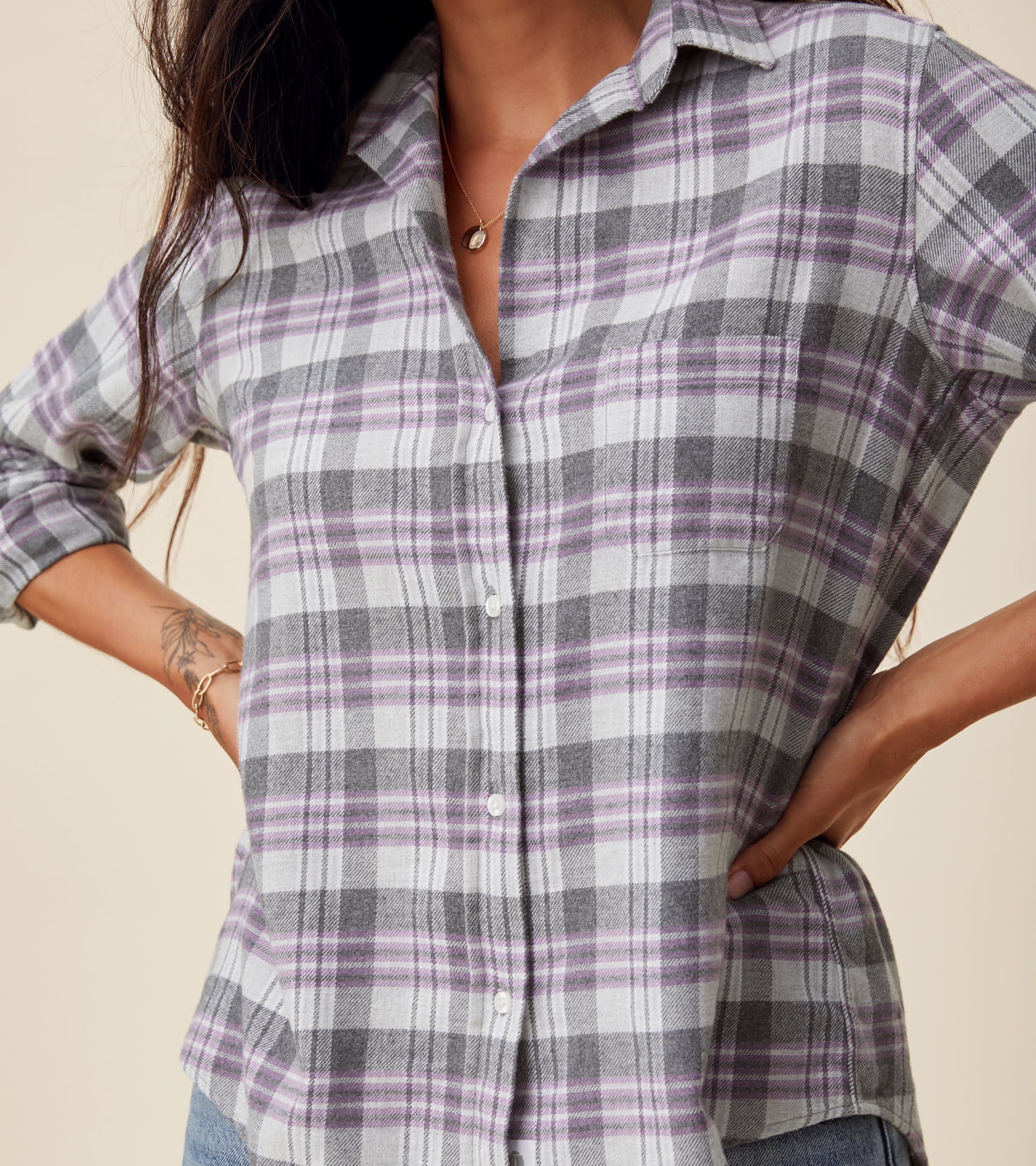 The Hero Button-Up Shirt Gray, White, and Purple Plaid, Plush Flannel view 2