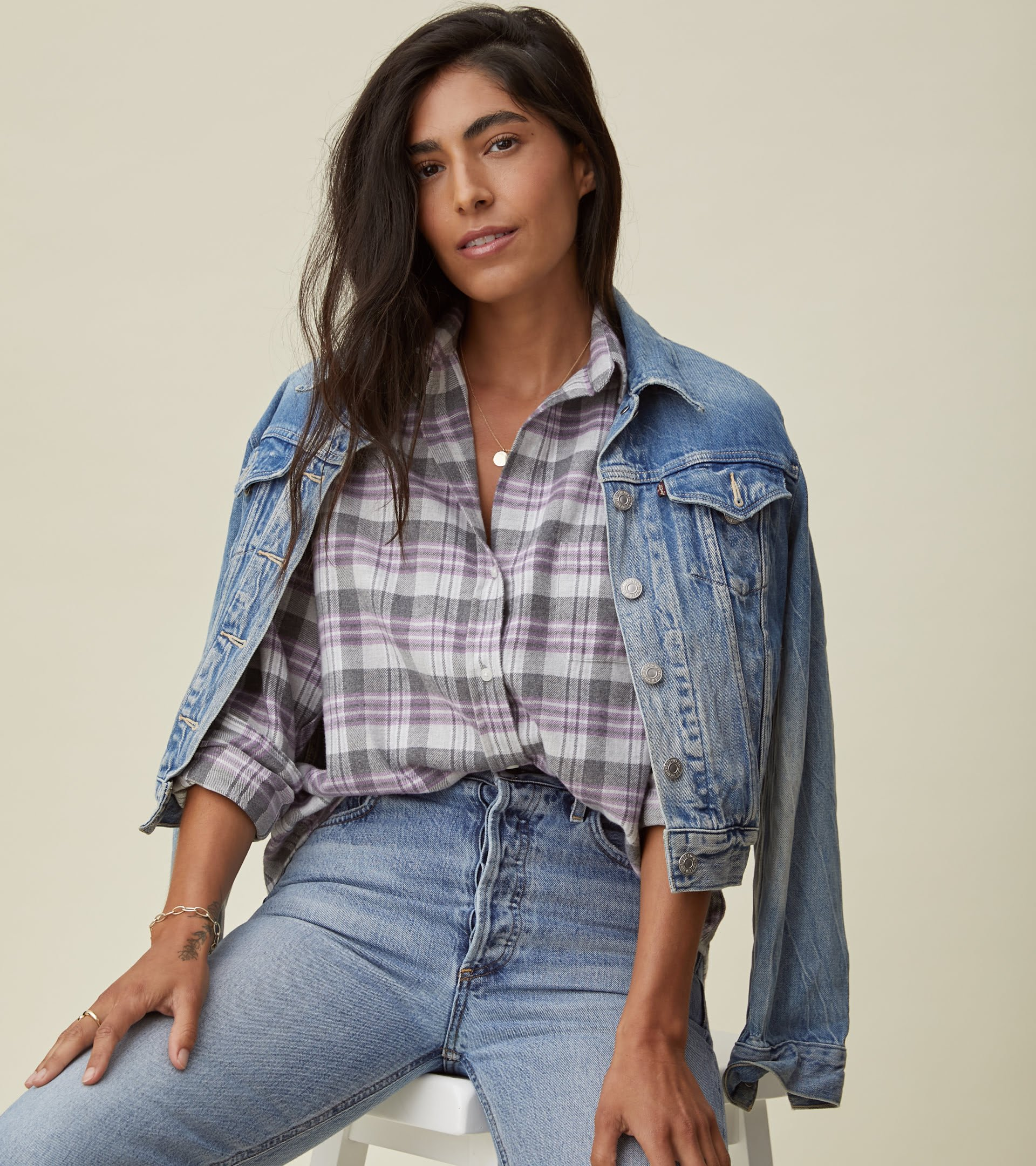 The Hero Button-Up Shirt Gray, White, and Purple Plaid, Plush Flannel view 1