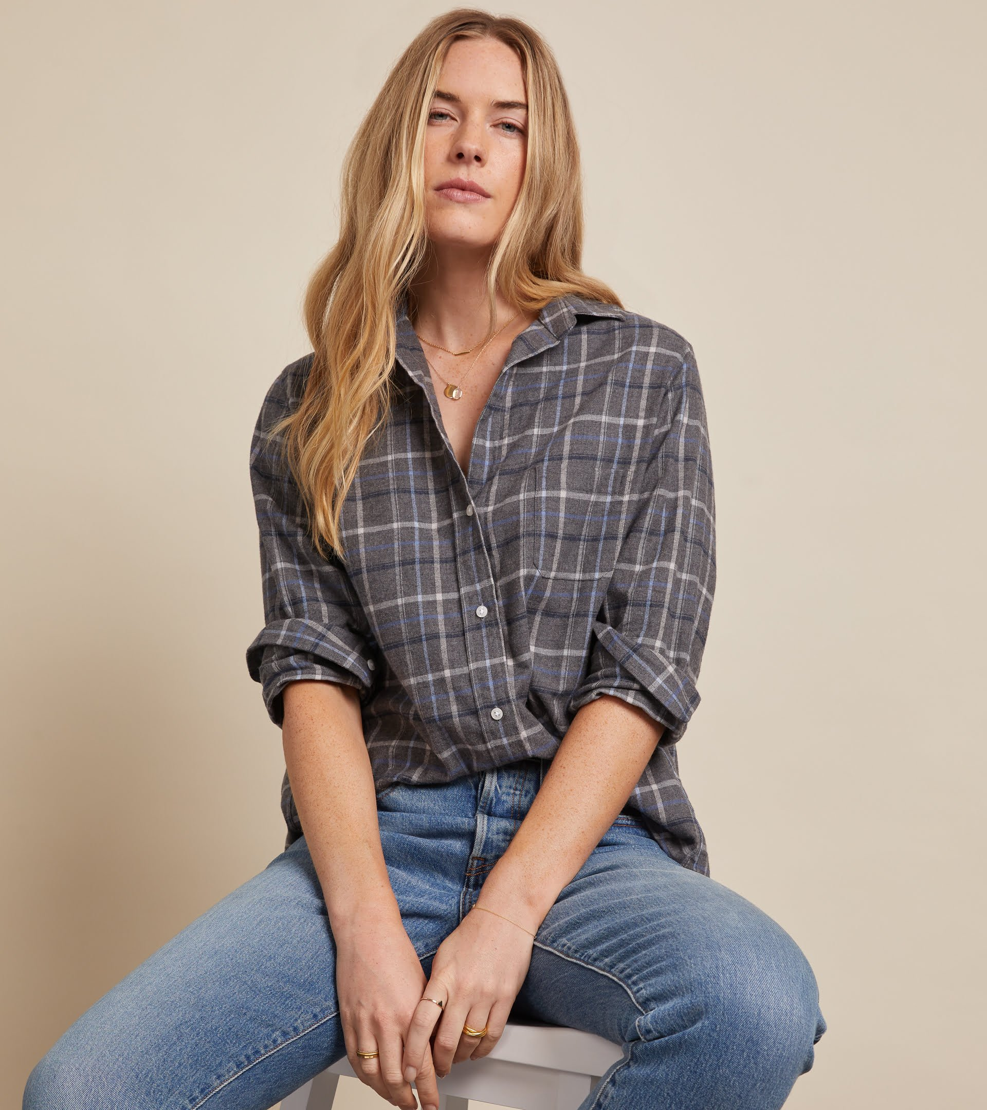 The Hero Button-Up Shirt Gray, Blue, White and Black Plaid, Feathered Flannel view 1