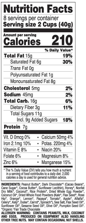 Dark Chocolate Coconut nutritional information