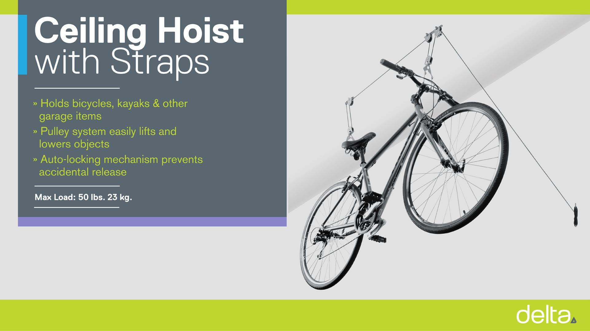 Single Bike Ceiling Hoist with Straps instructions