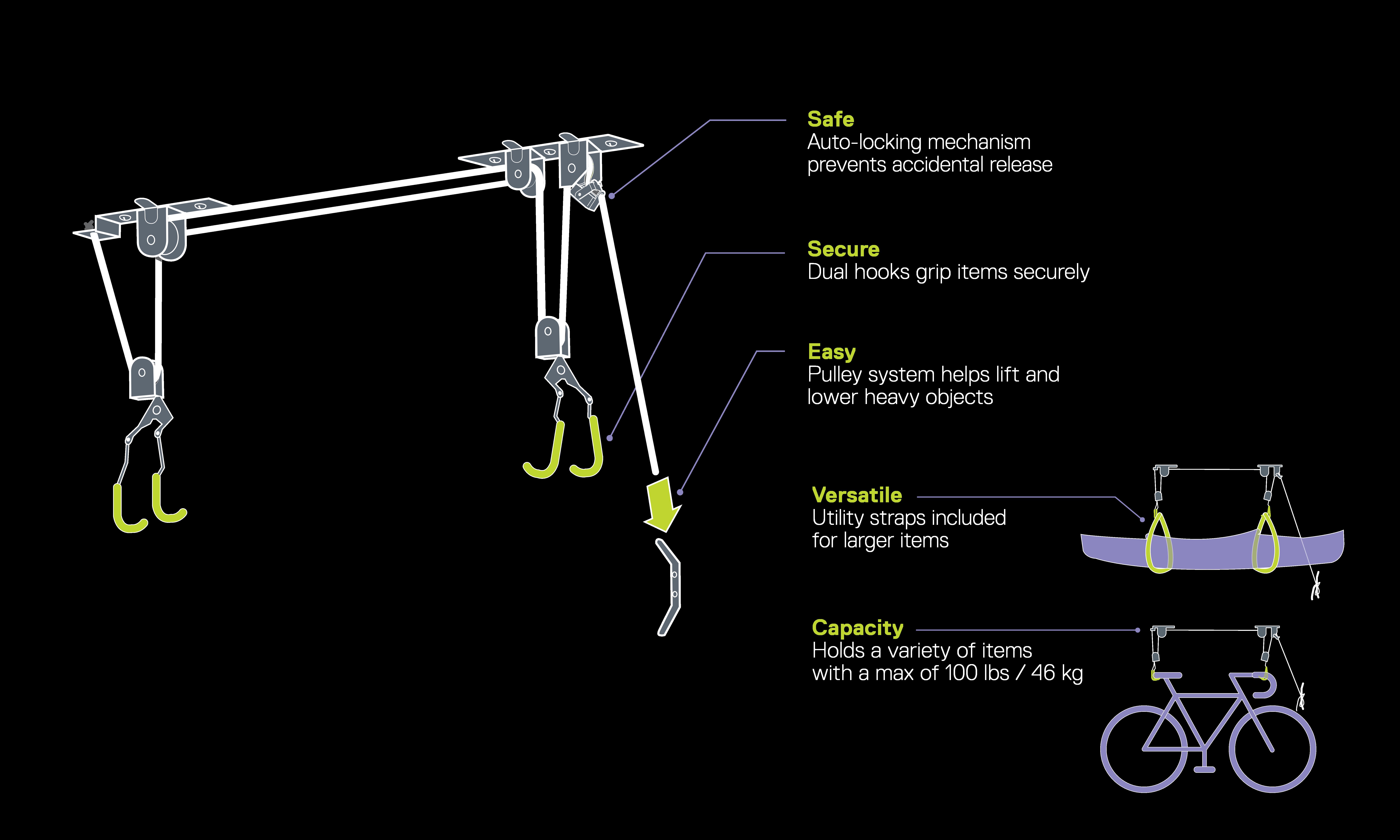 Single Bike Ceiling Hoist with Straps diagram