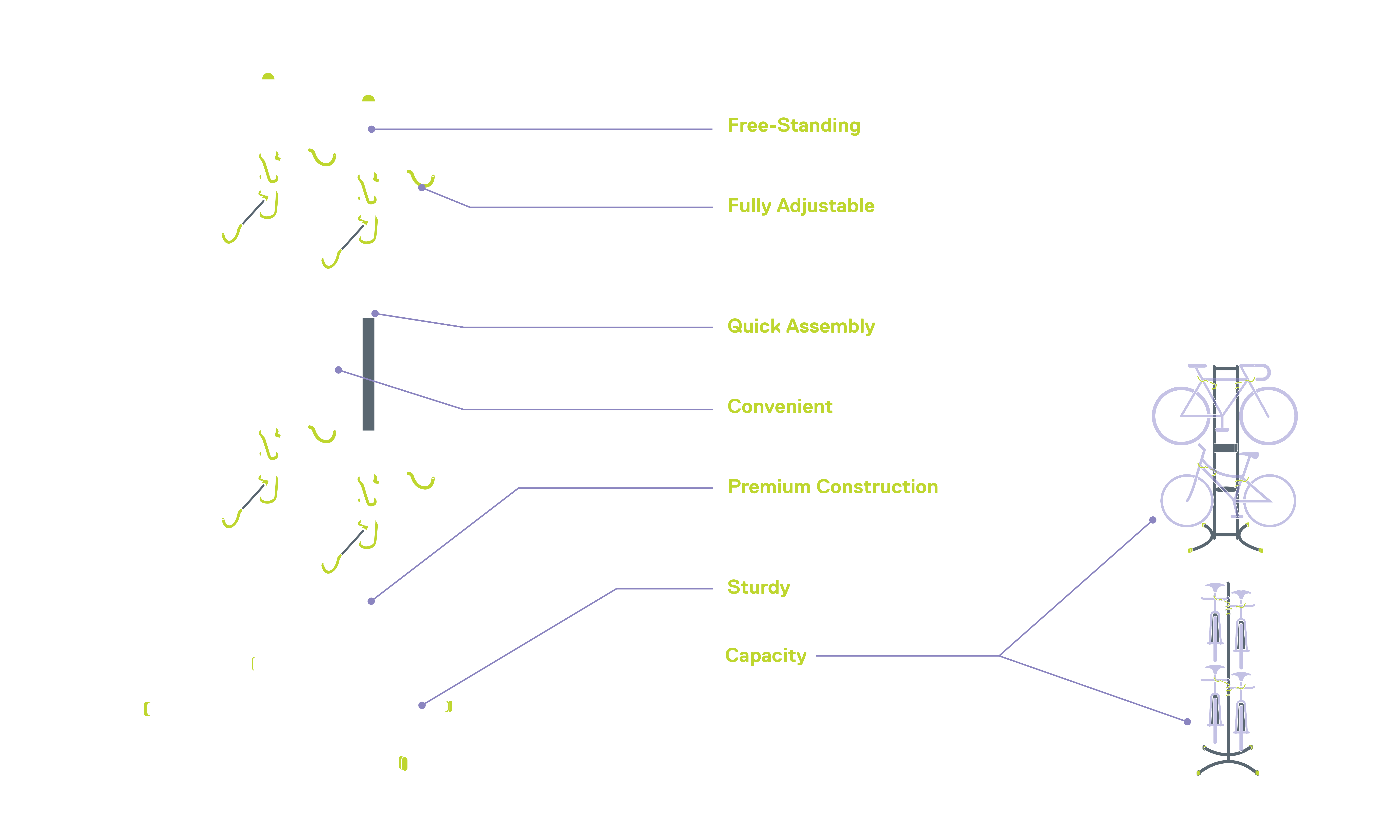Four Bike Free-Standing Rack with Basket diagram