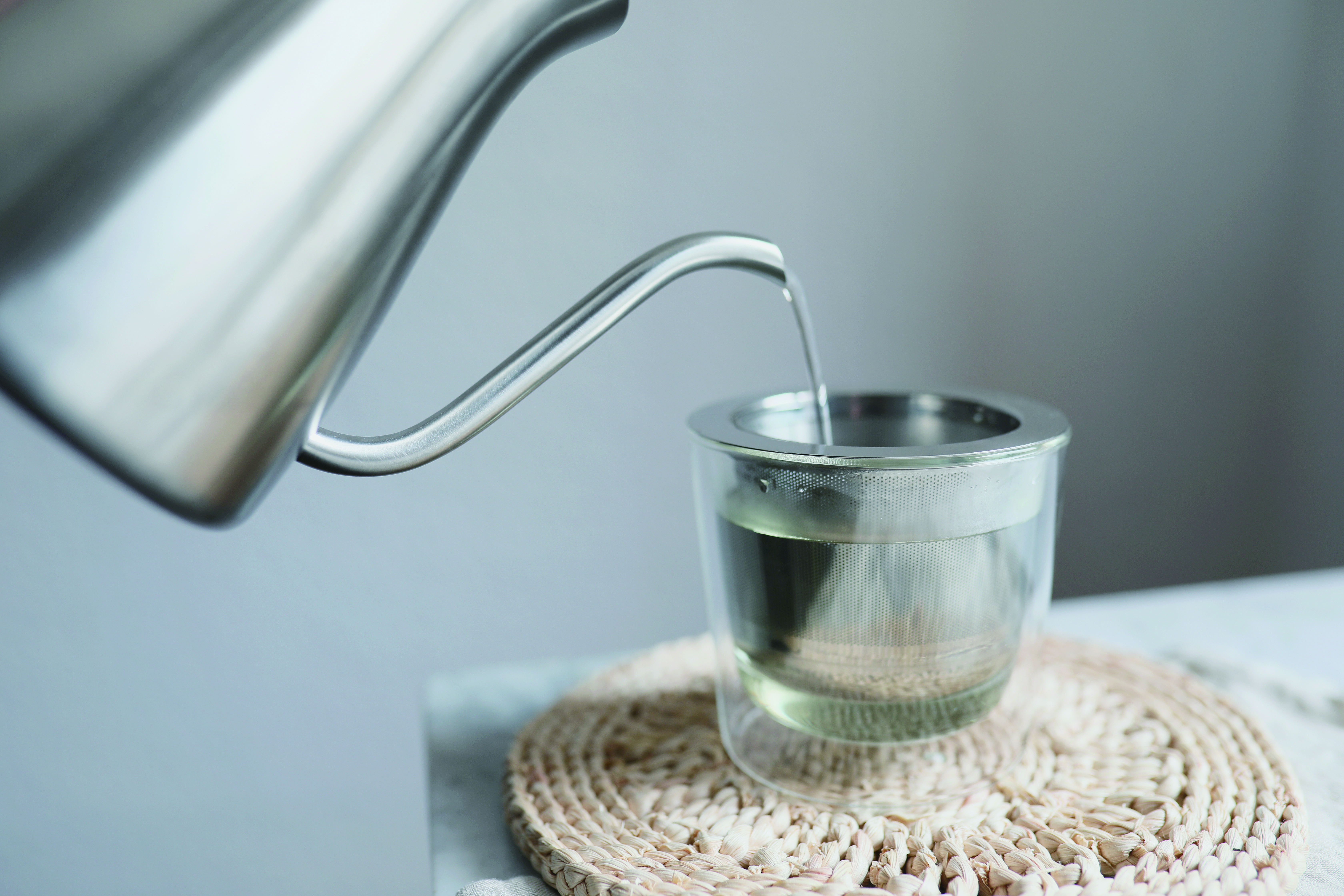 KINTO LEAVES TO TEA CUP WITH STRAINER 260ML CLEAR