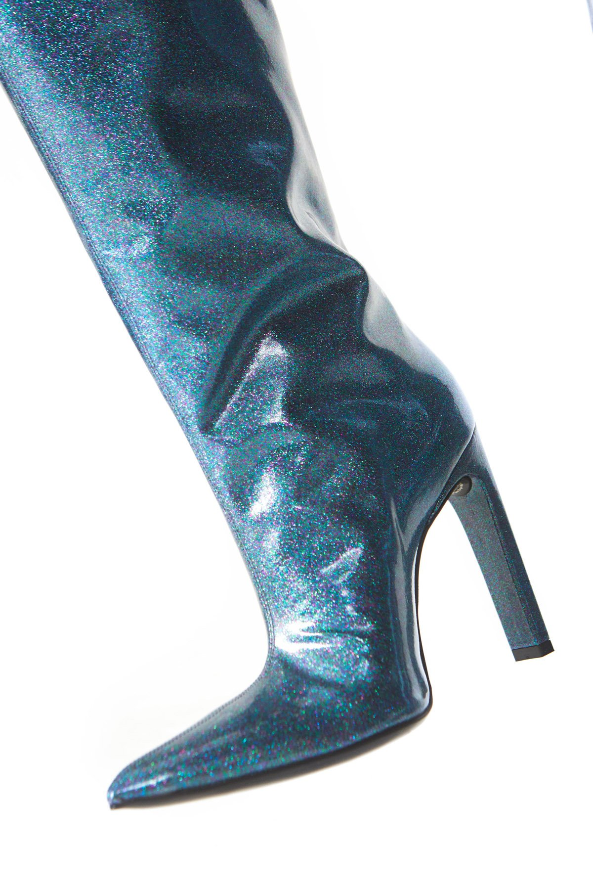 Featuring a stiletto heel and pointed toe, these knee-high boots are crafted with a glossy blue patent leather and finished with a multicolored glitter.