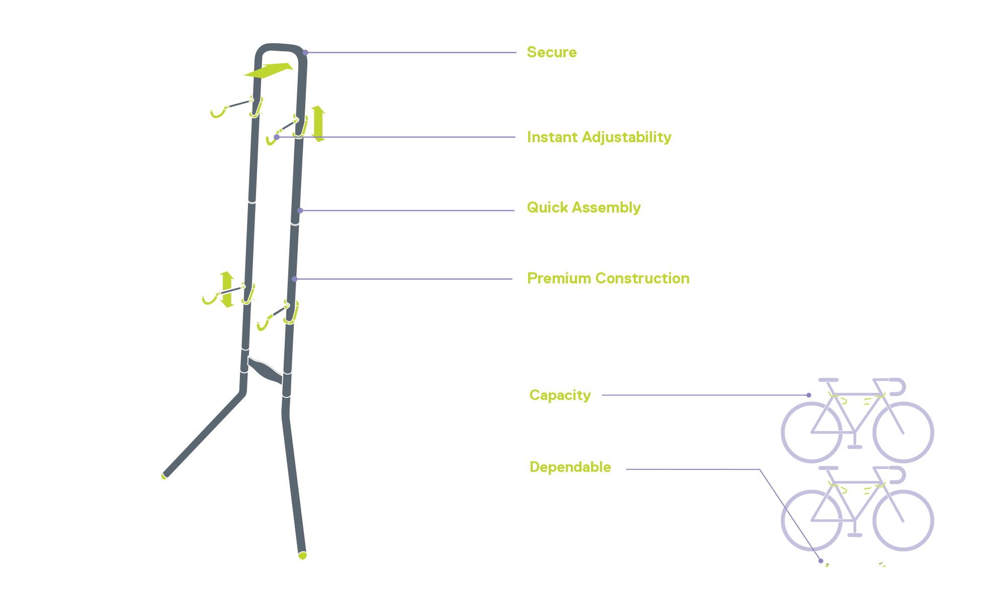 Two Bike Gravity Stand diagram