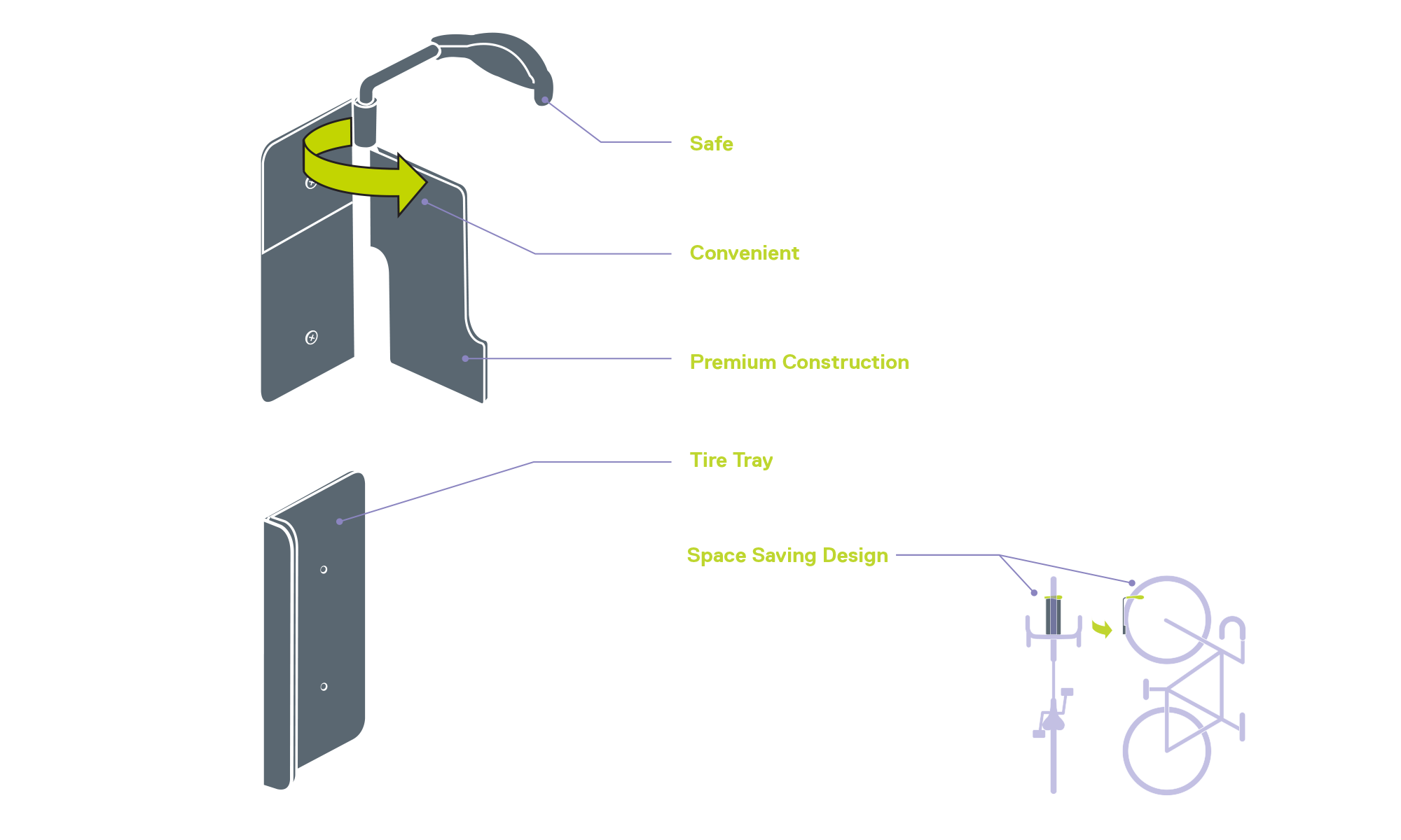 Single Bike Hinge Wall Mount Rack diagram
