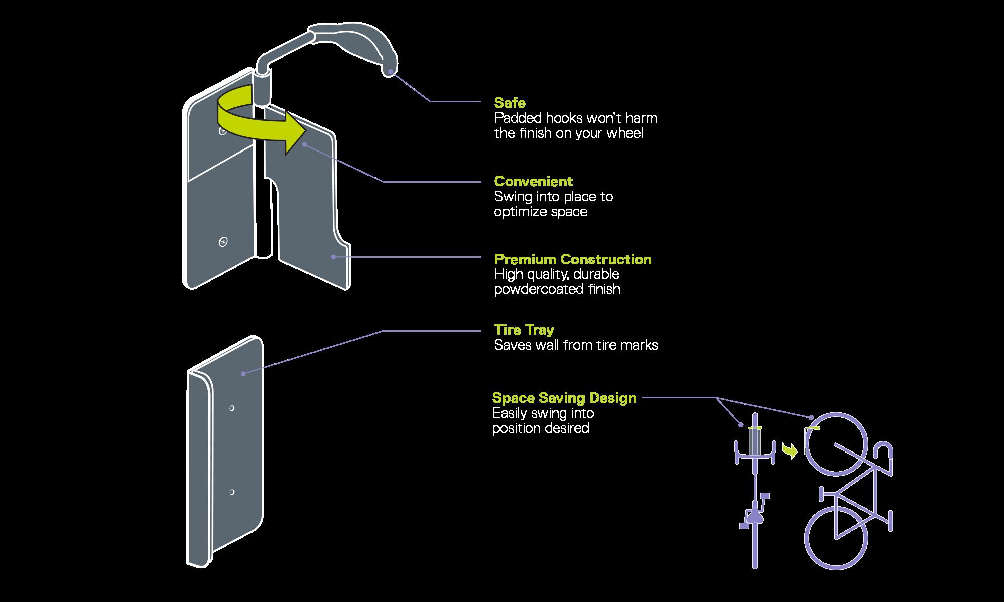 Single Bike Hinge Wall Mount Rack diagram
