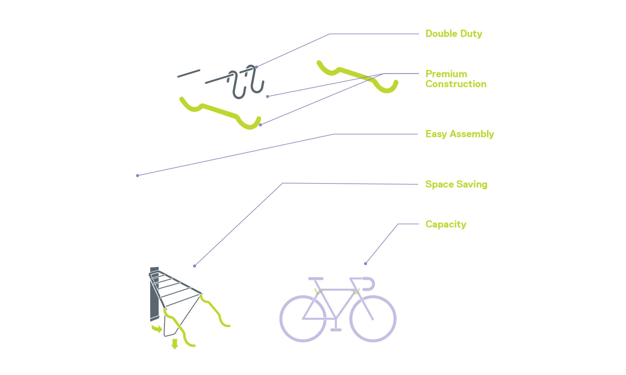 Two Bike Wall Mount Rack with Shelf diagram