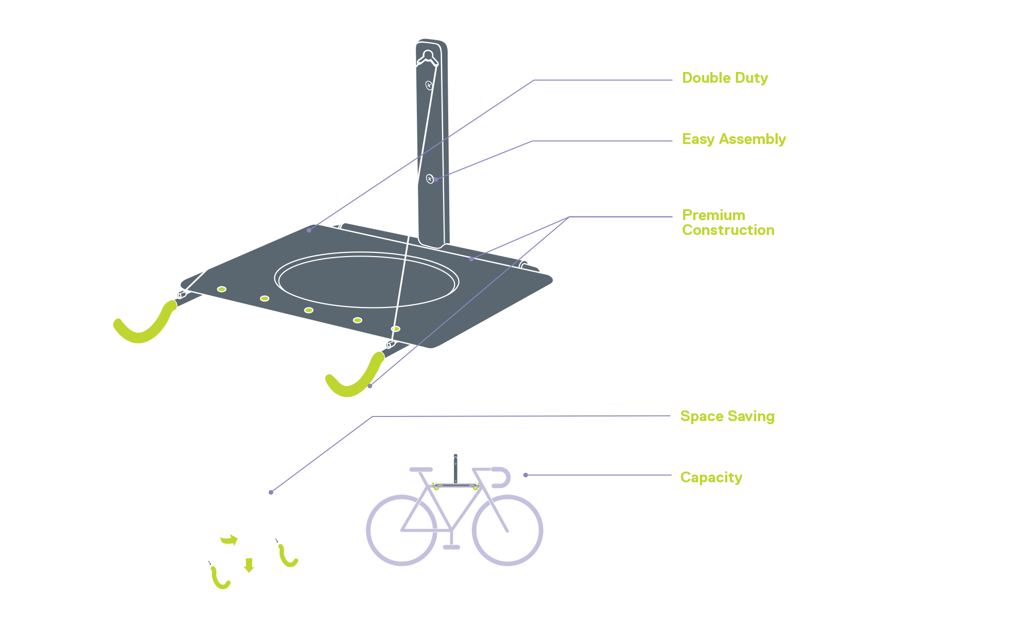 Single Bike Wall Mount Rack with Shelf diagram