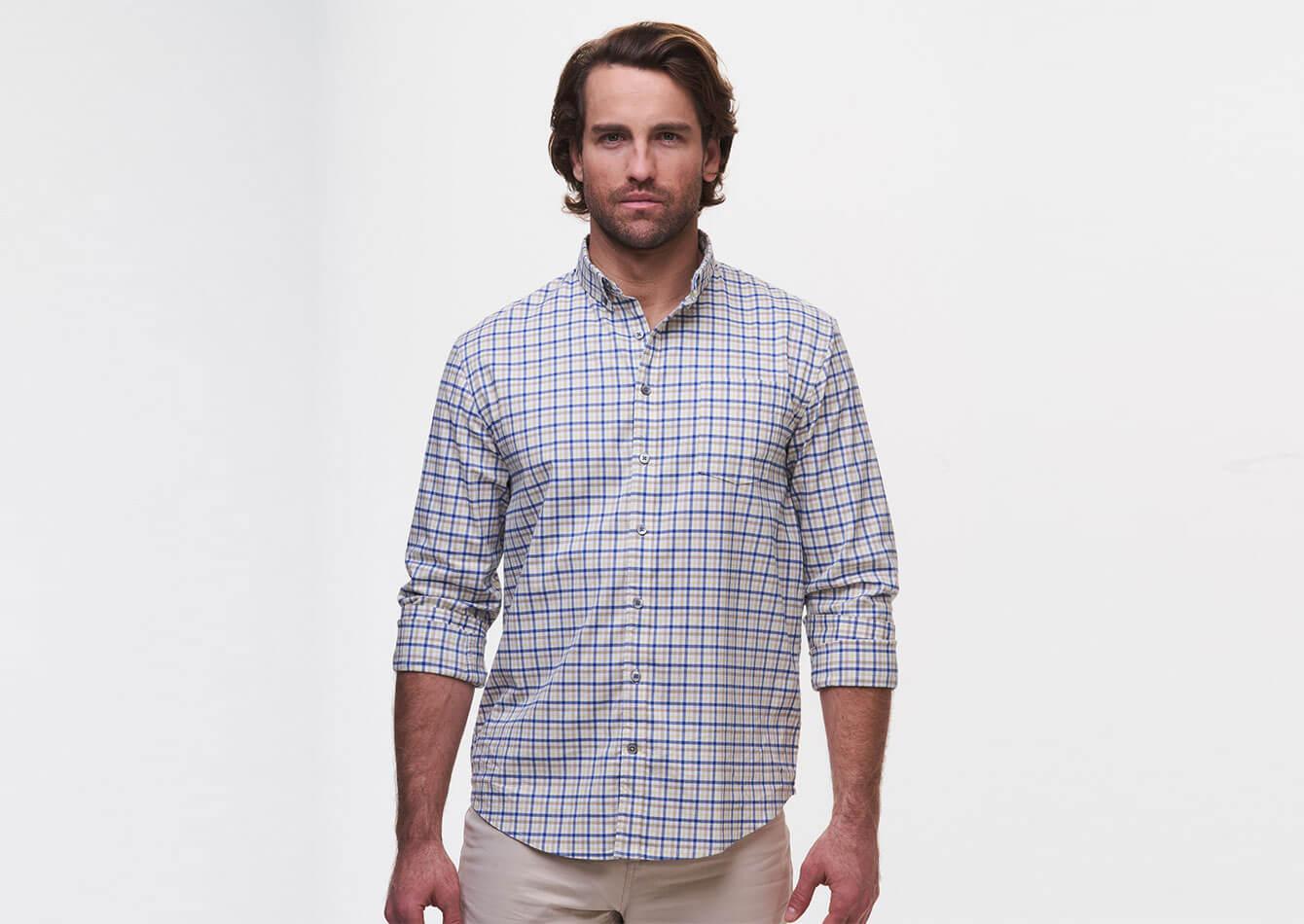 Jackson Plaid Natural Performance Sport Shirt - tasc Performance (Nautical/Lemonade)