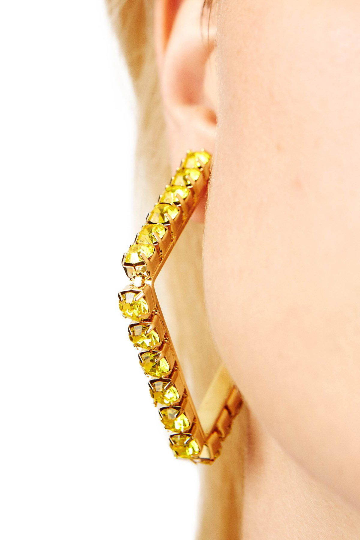 2-inch classic square hoop earrings in polished brass with oversized crystals. Imported.