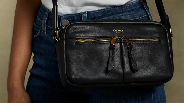 KNOMO Brook Leather Cross-Body Lifestyle Image |knomo.com