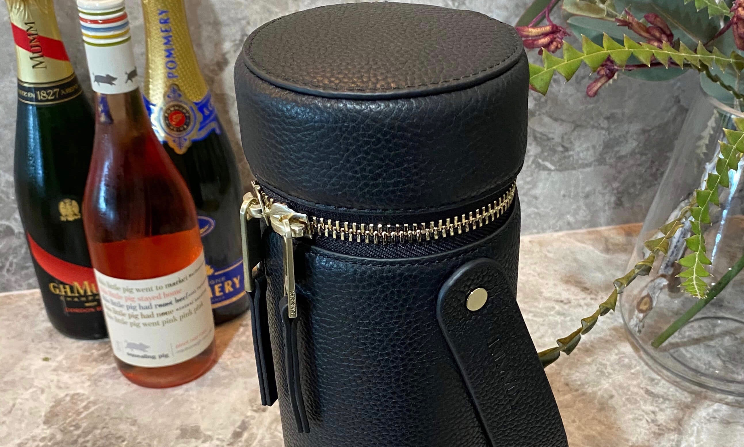 thumb-WINE CARRIER - LIGHT GOLD HARDWARE