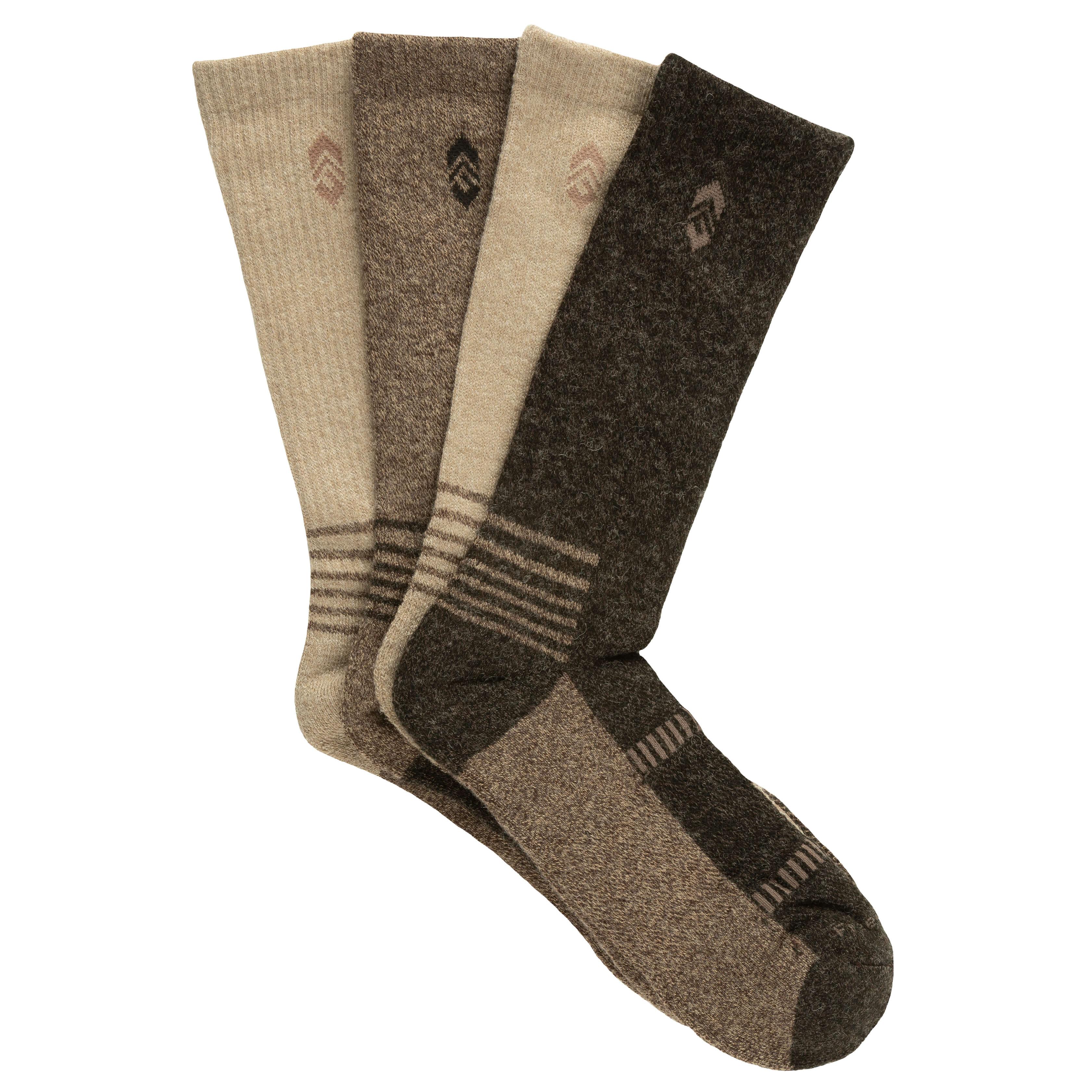 Men's Wool-Blend Marled Brown Crew Socks