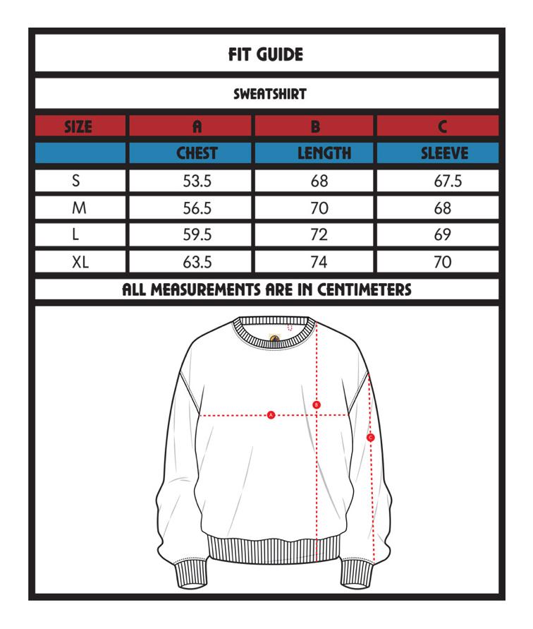 Sweatshirt size guide
