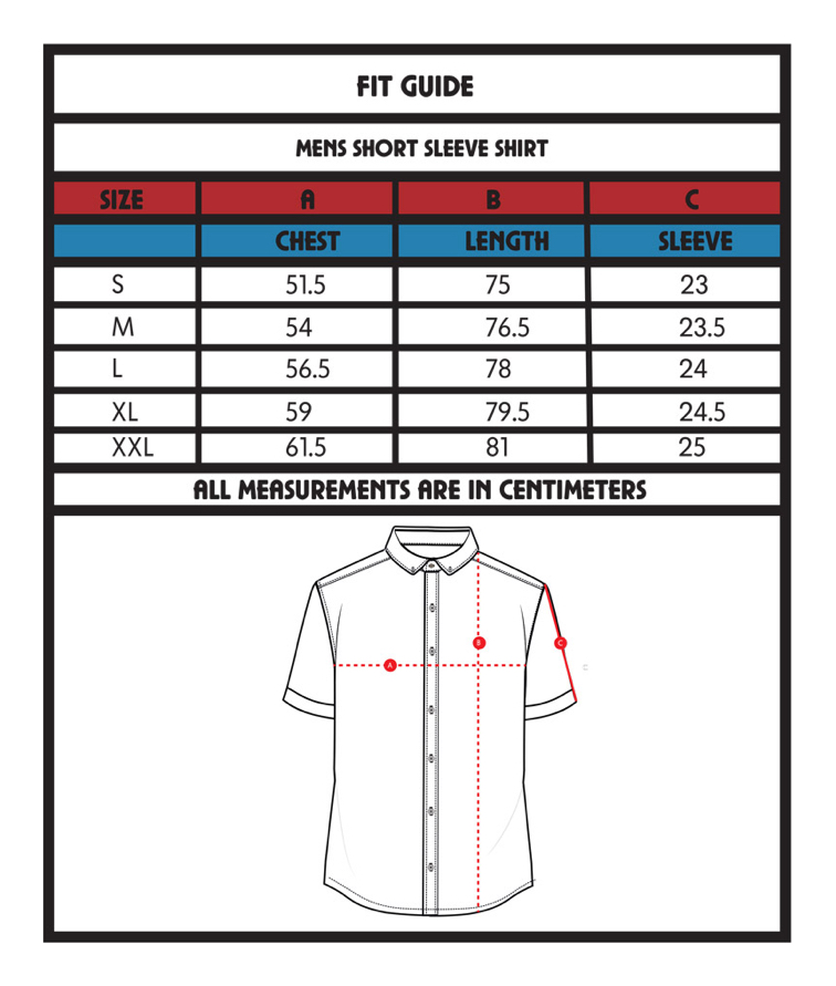 Shirt size guide