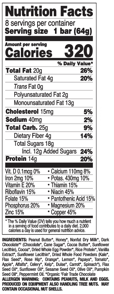 Chocolate Mint nutritional information