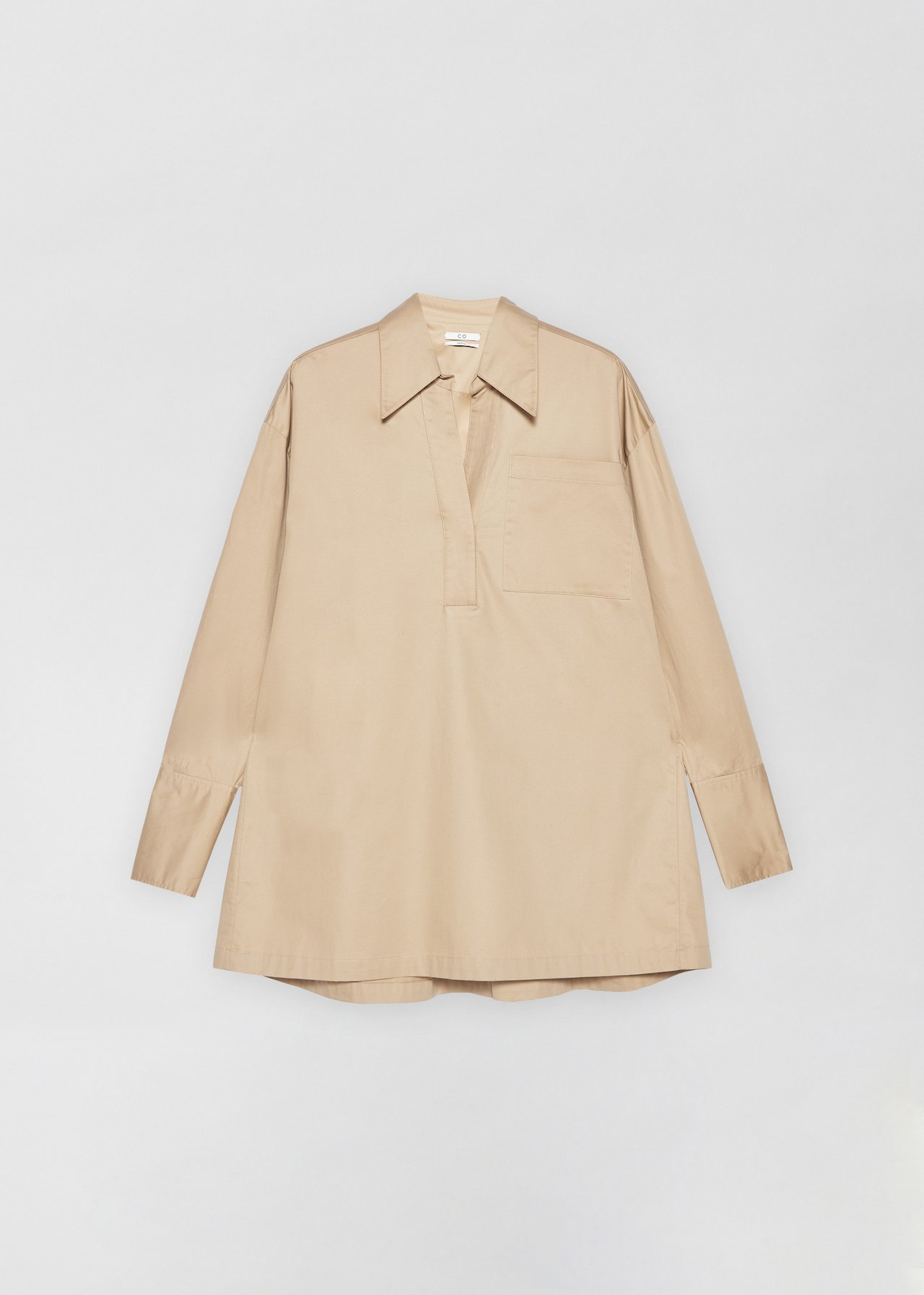 Half Placket Shirt - White in Taupe by Co Collections