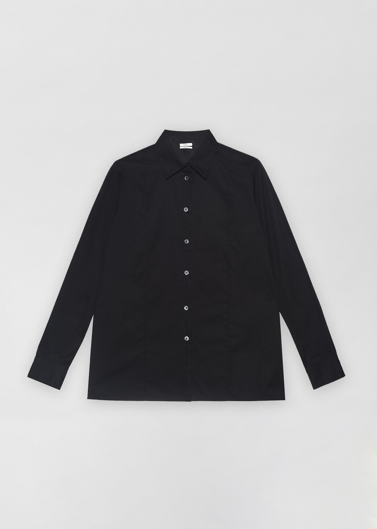 Tucked Placket Button Down Shirt - White in Black by Co Collections